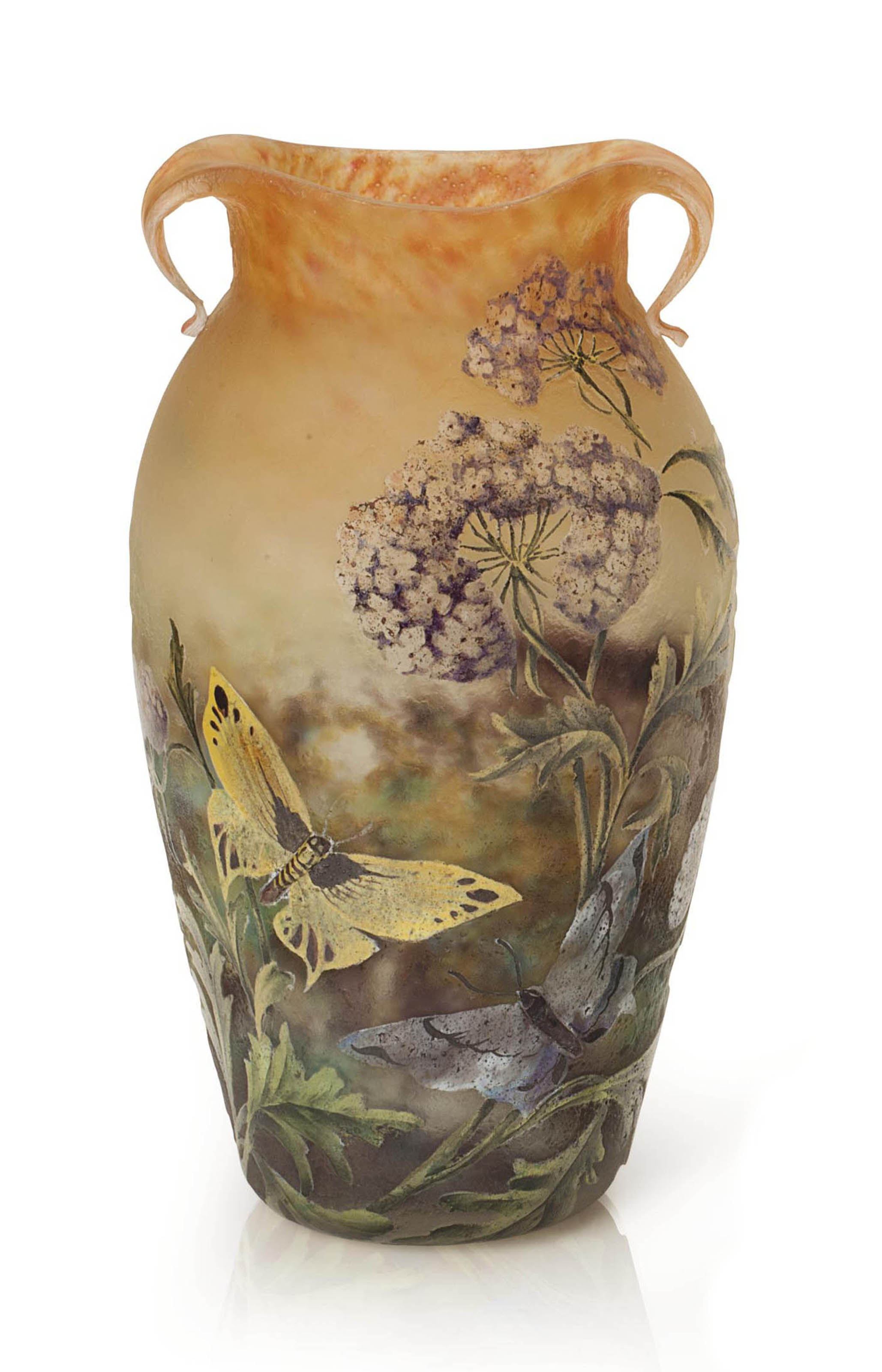 A FRENCH 'BUTTERFLY AND FLOWERS' ENAMELED CAMEO GLASS VASE