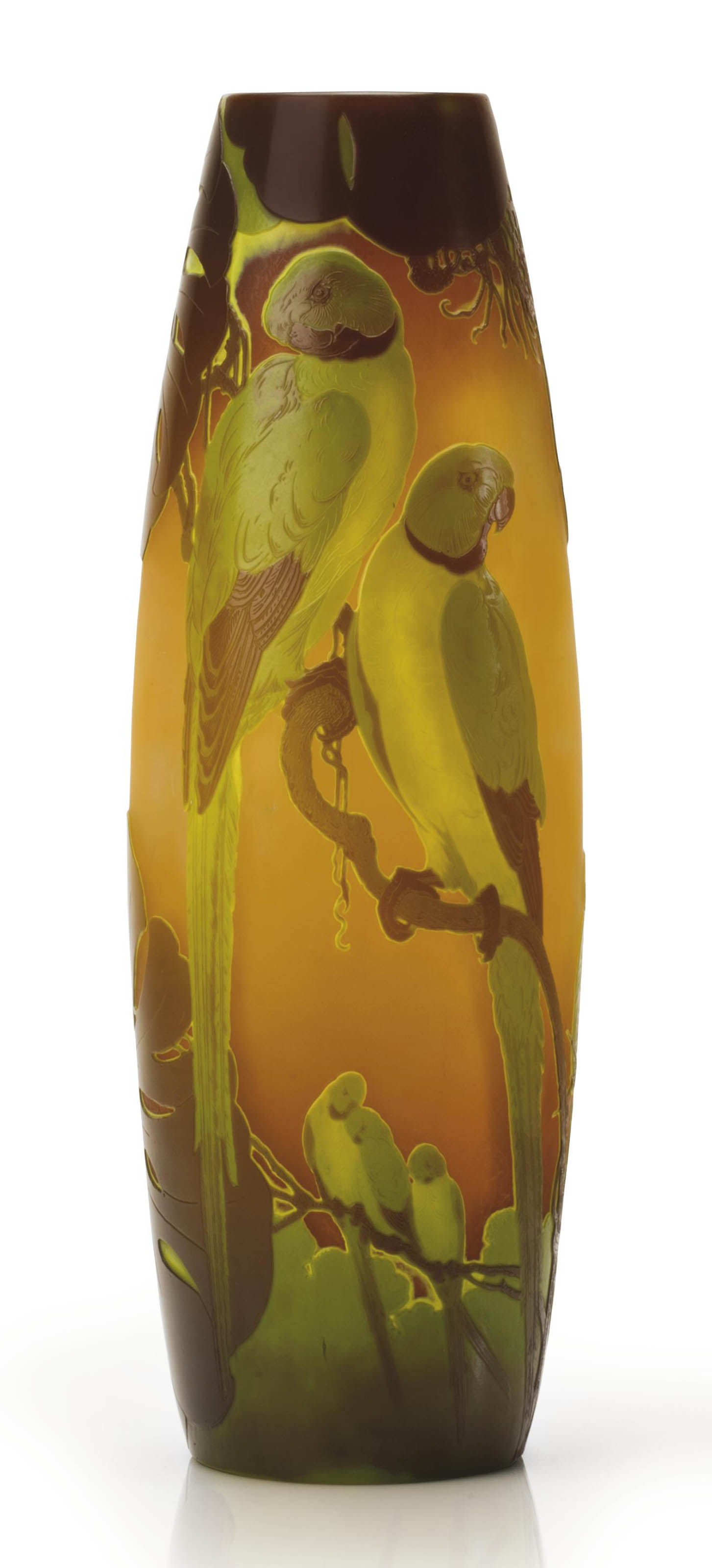 A LARGE FRENCH 'PARROT' CAMEO GLASS VASE