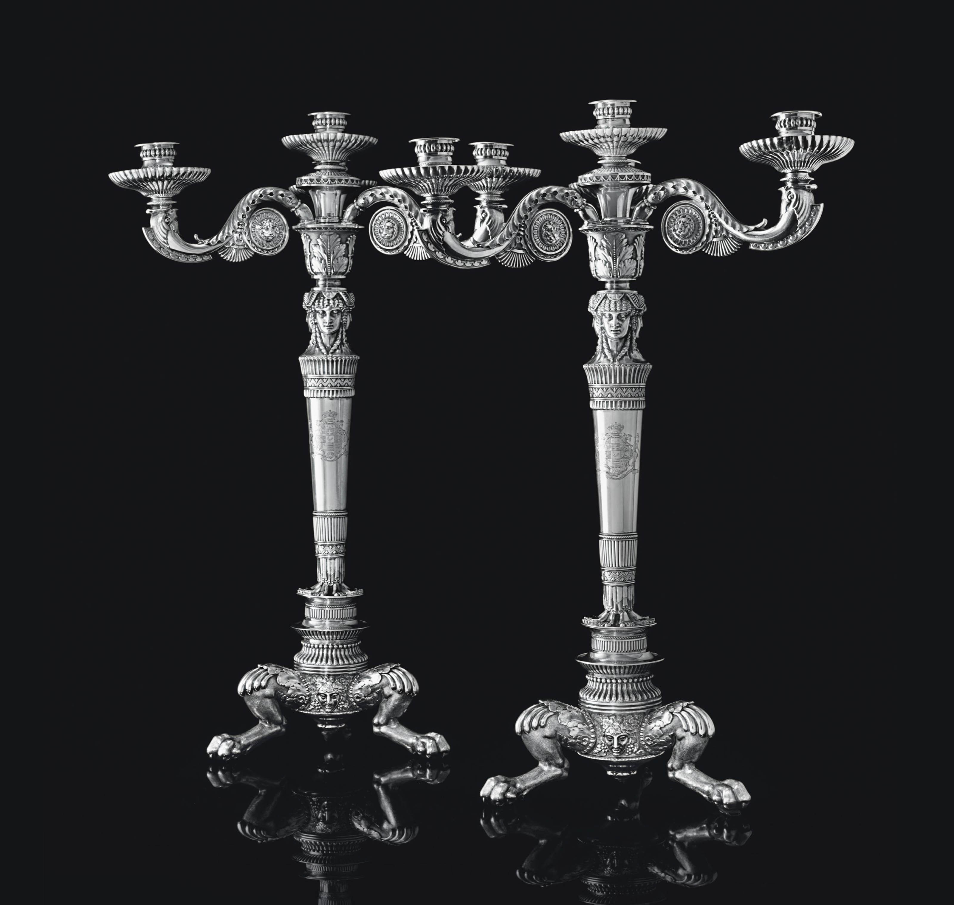 A PAIR OF GEORGE III SILVER FOUR-LIGHT CANDELABRA