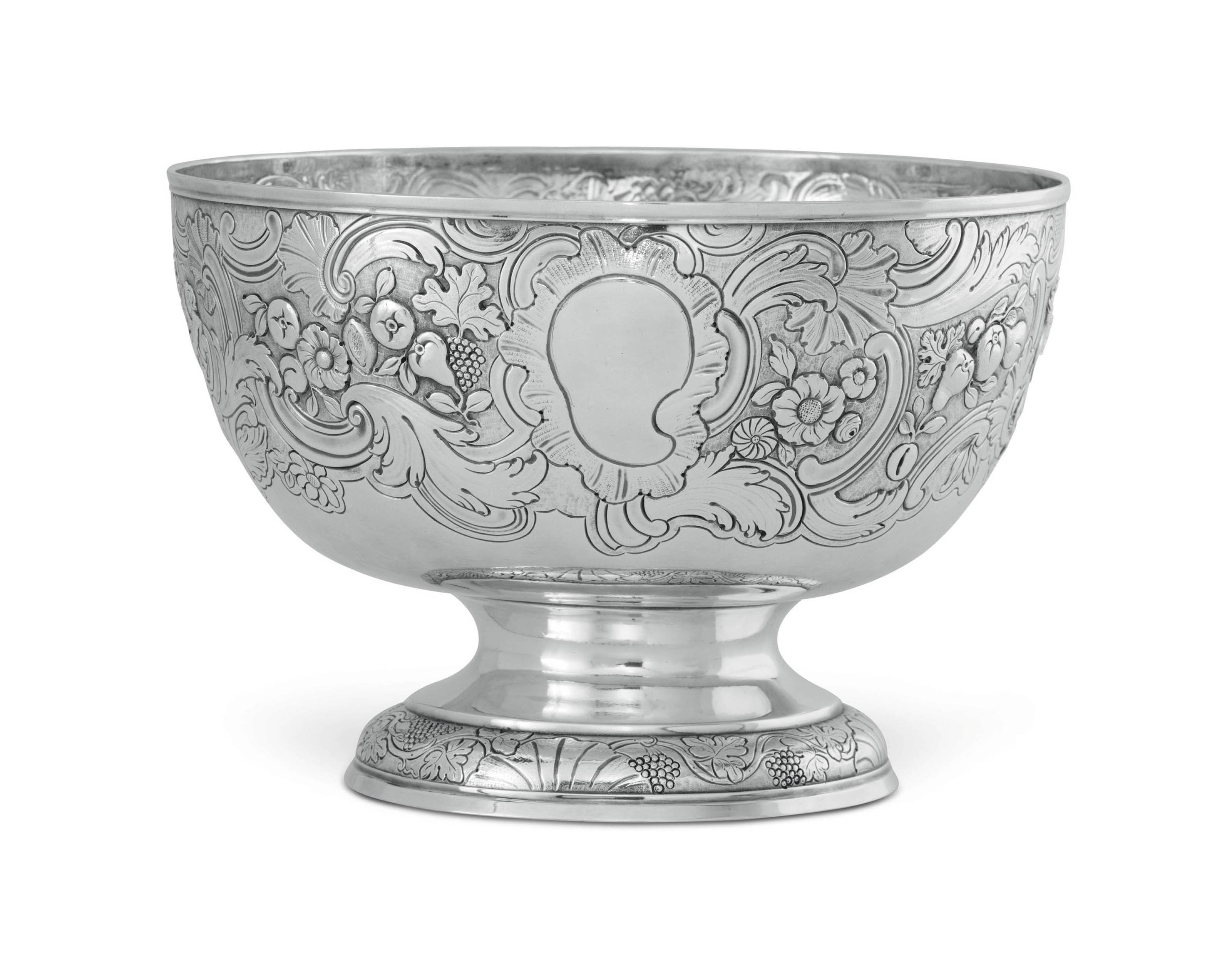 A GEORGE II IRISH SILVER PUNCH BOWL