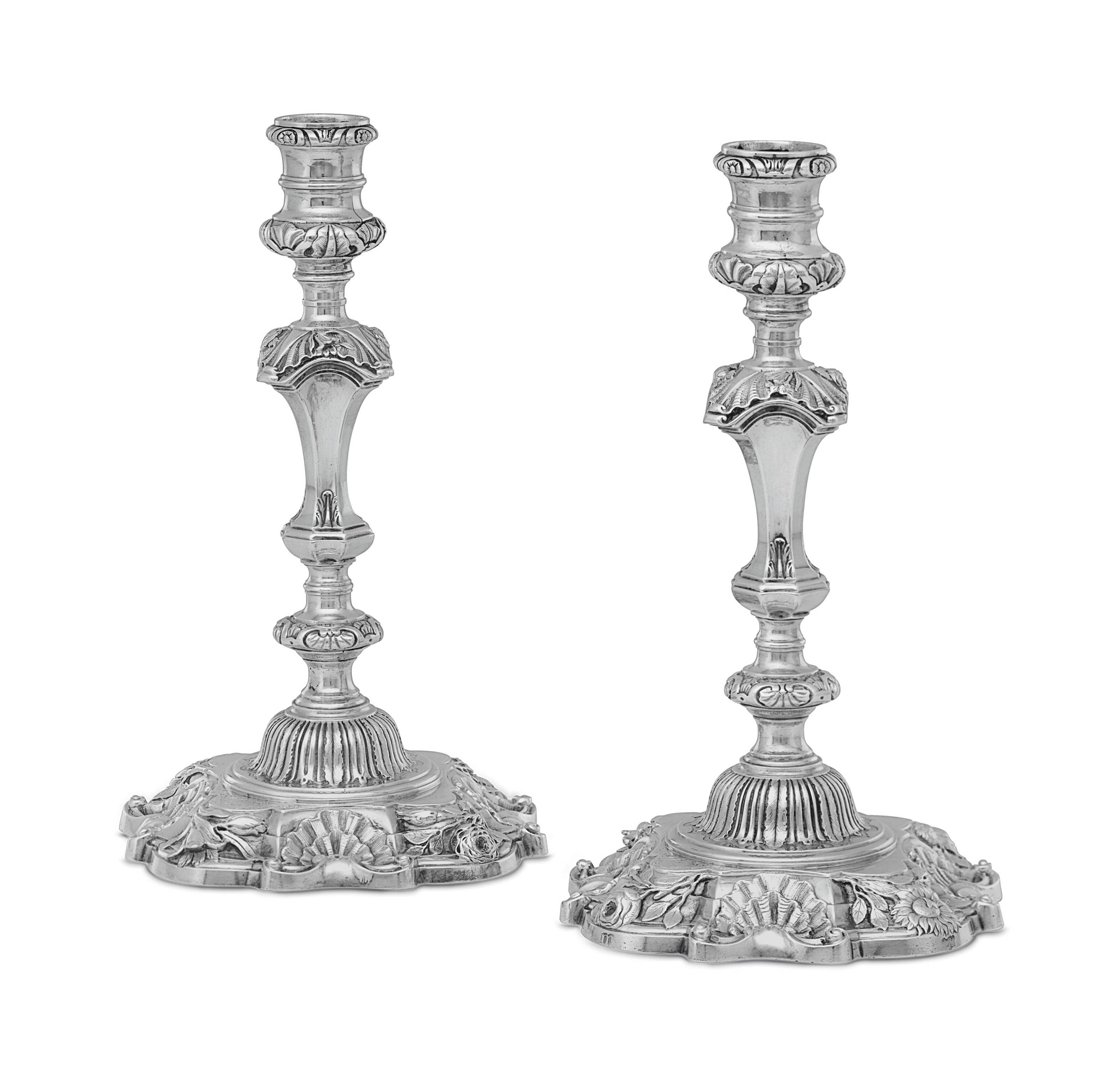A PAIR OF GEORGE II SILVER CANDLESTICKS