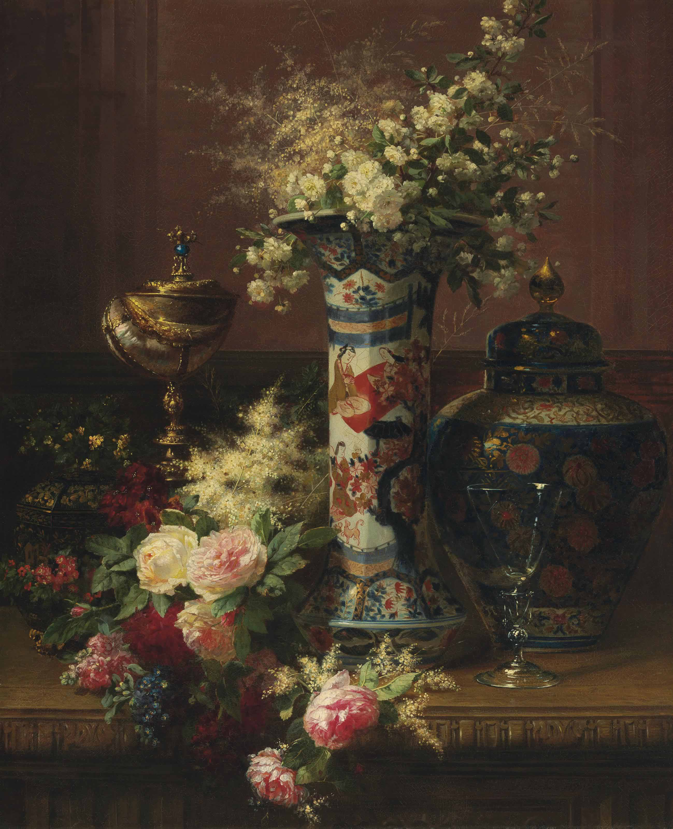 Roses, Peonies and Forget-me-nots in a Japanese Vase