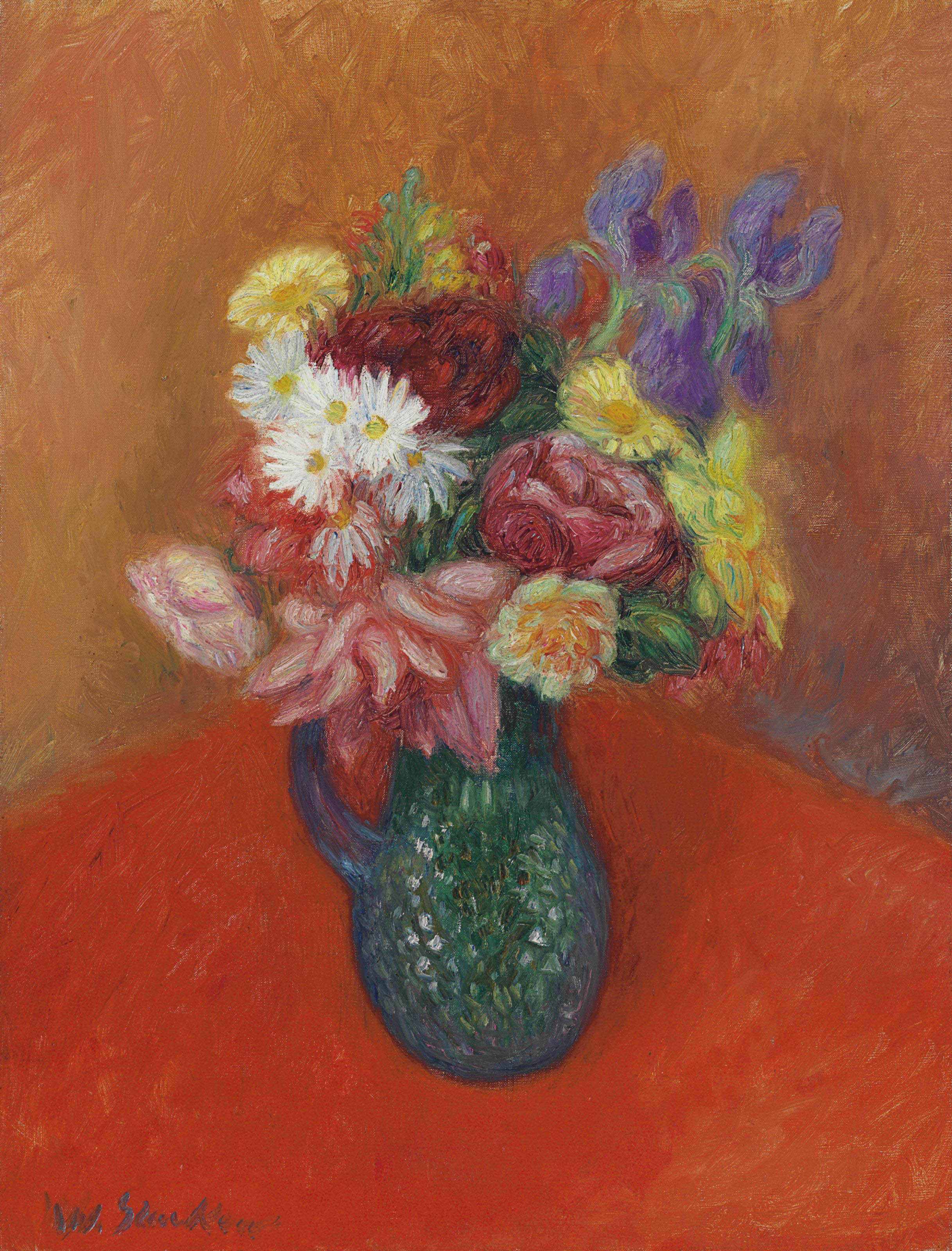 Flowers with Red Tablecloth