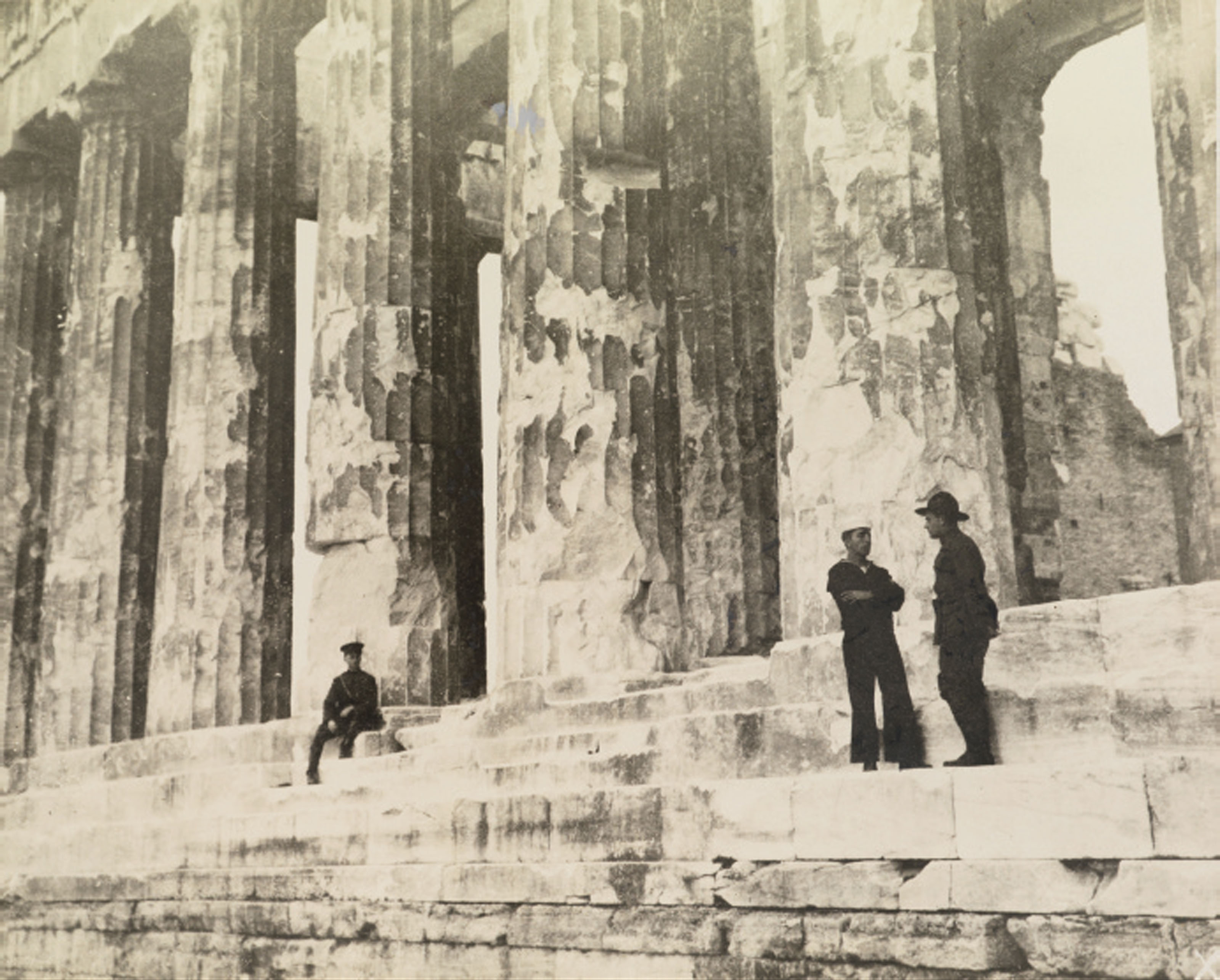 American Soldier and Sailor at the Parthenon, Athens, Greece, c. 1919