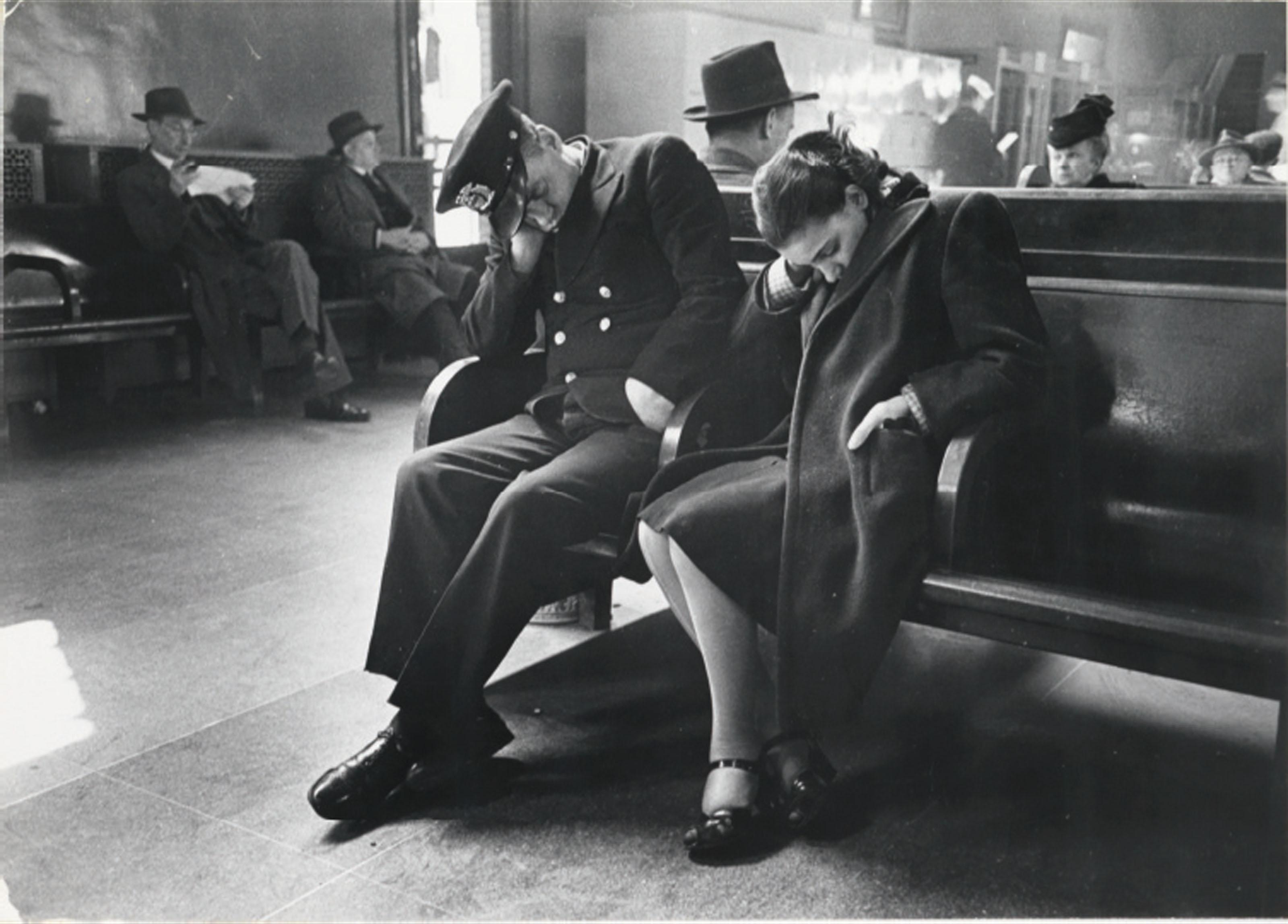 Sleeping Passengers, Greyhound Bus Terminal, New York City, c. 1949