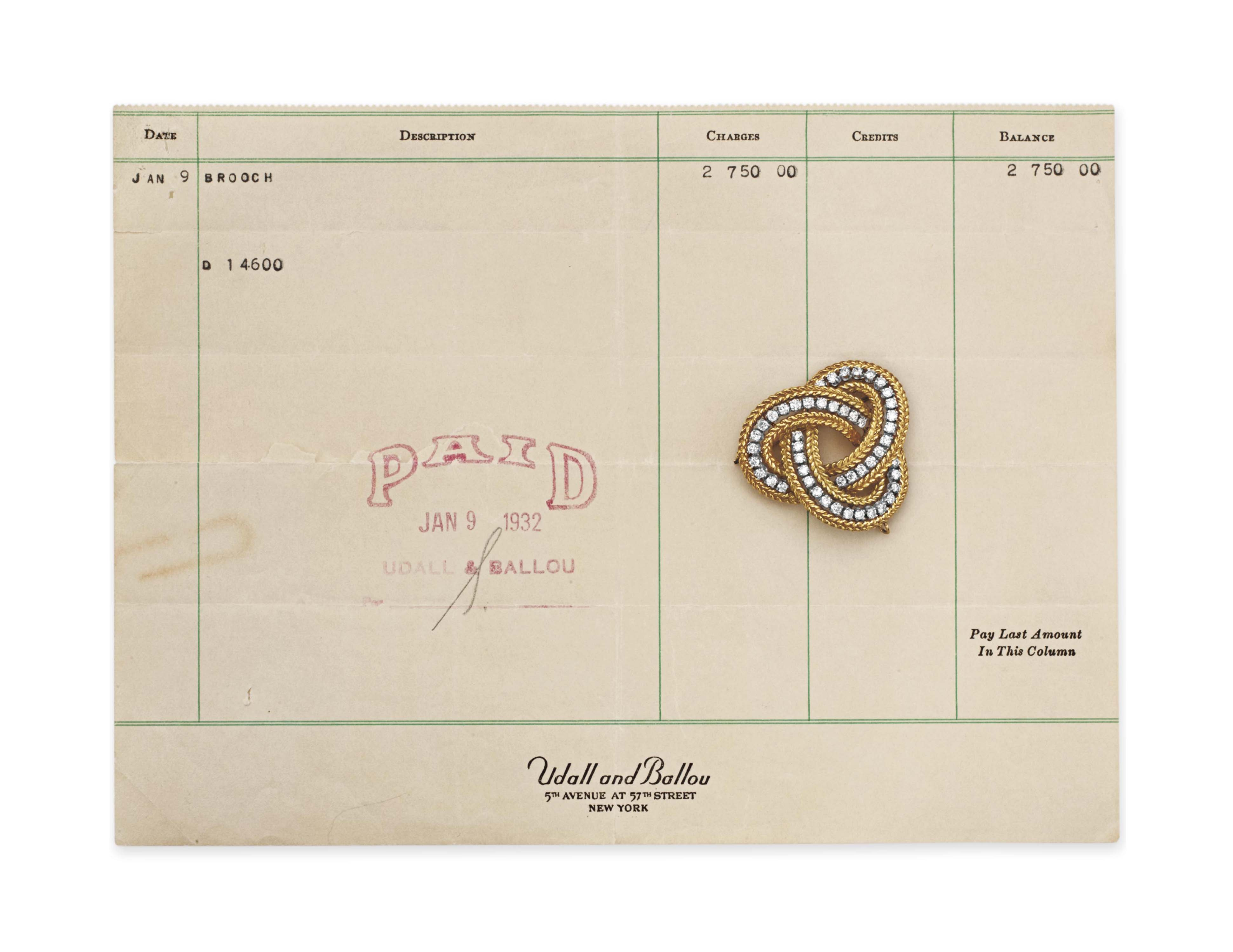 A DIAMOND AND GOLD BROOCH, BY UDALL & BALLOU