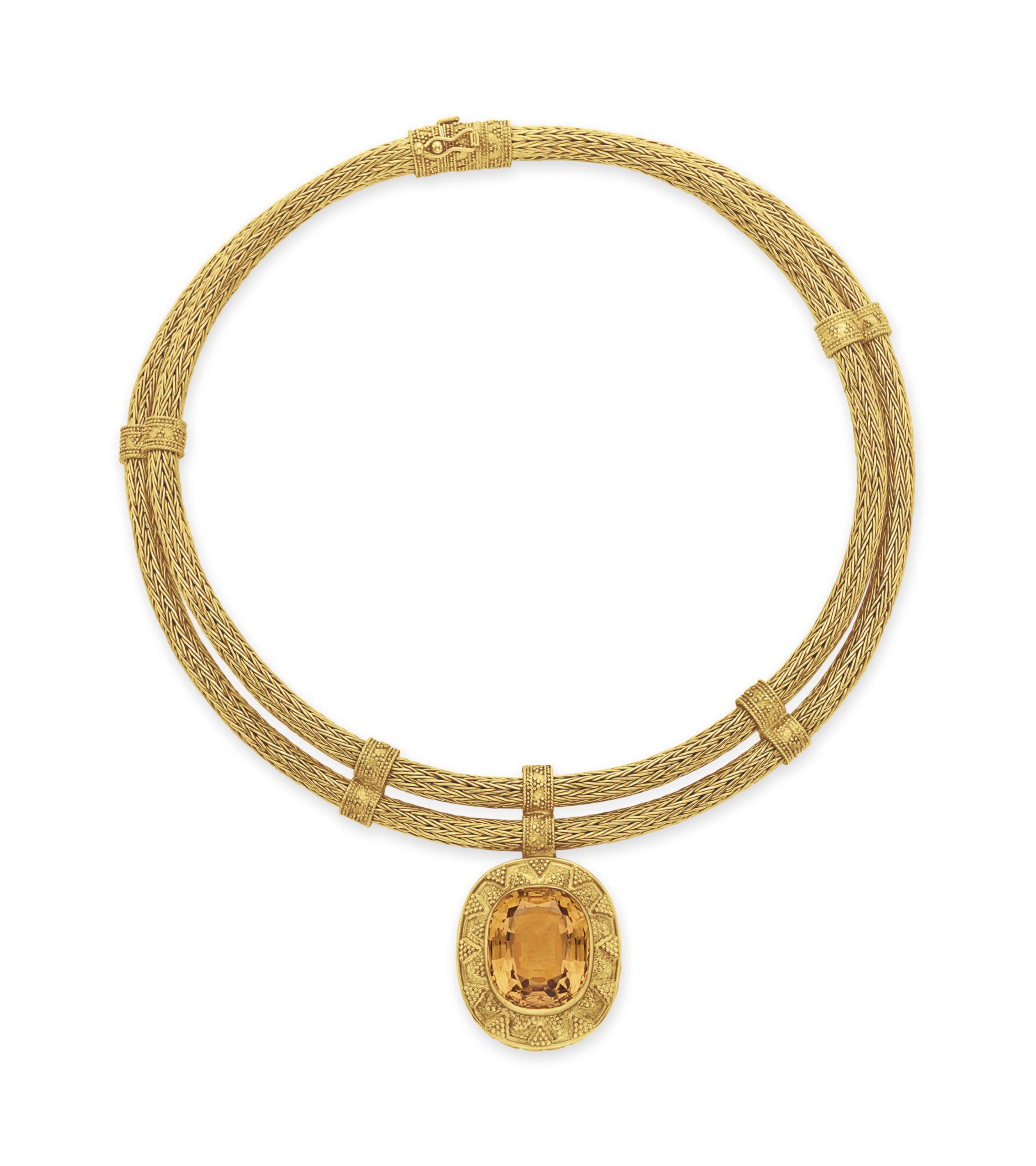 A CITRINE AND GOLD NECKLACE, BY ZOLOTAS