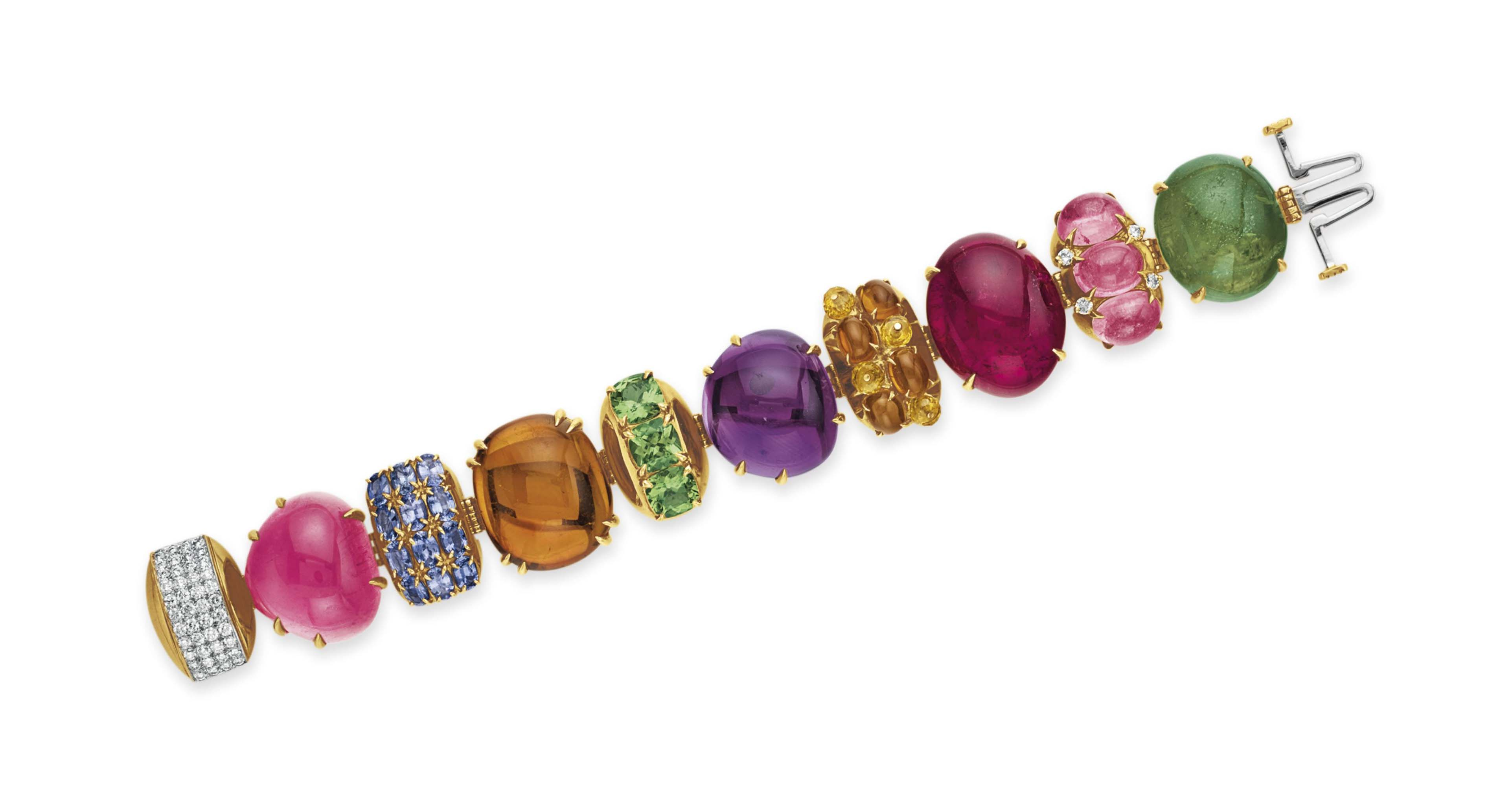 A MULTI-GEM AND DIAMOND BRACELET, BY SEAMAN SCHEPPS