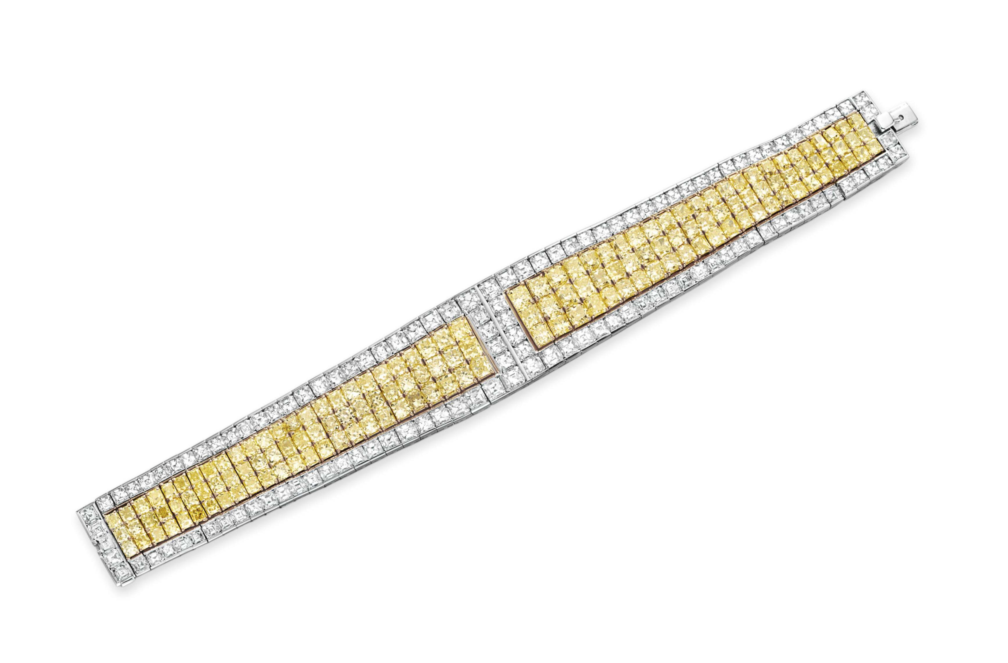 A COLORED DIAMOND AND DIAMOND BRACELET, BY DAVID MORRIS