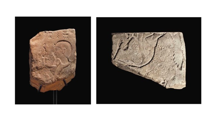 TWO EGYPTIAN STONE RELIEFS