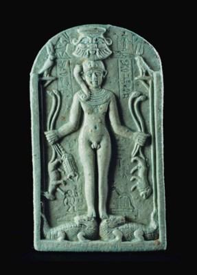 AN EGYPTIAN FAIENCE CIPPUS