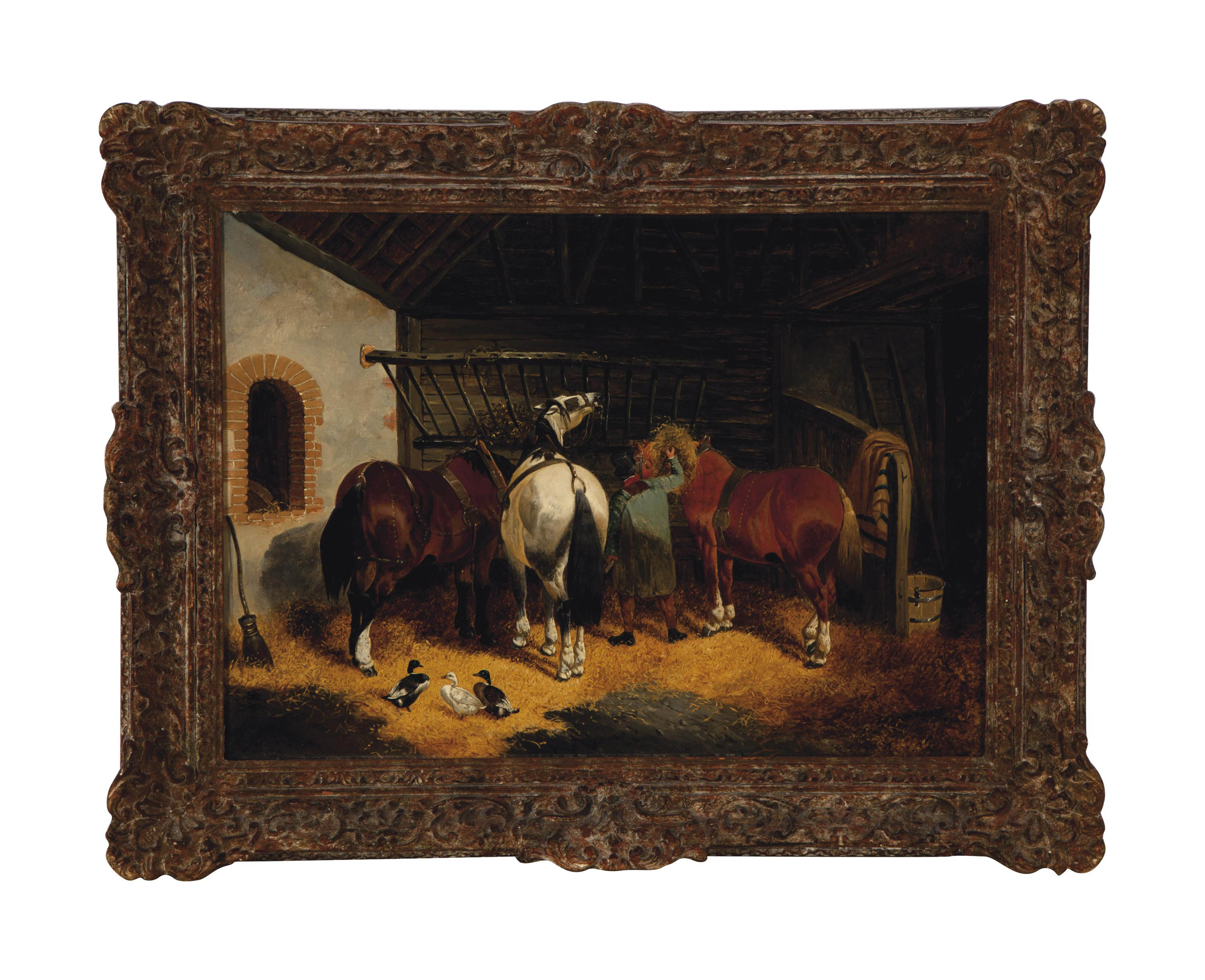 Resting in the stable after a day's work; and a companion painting