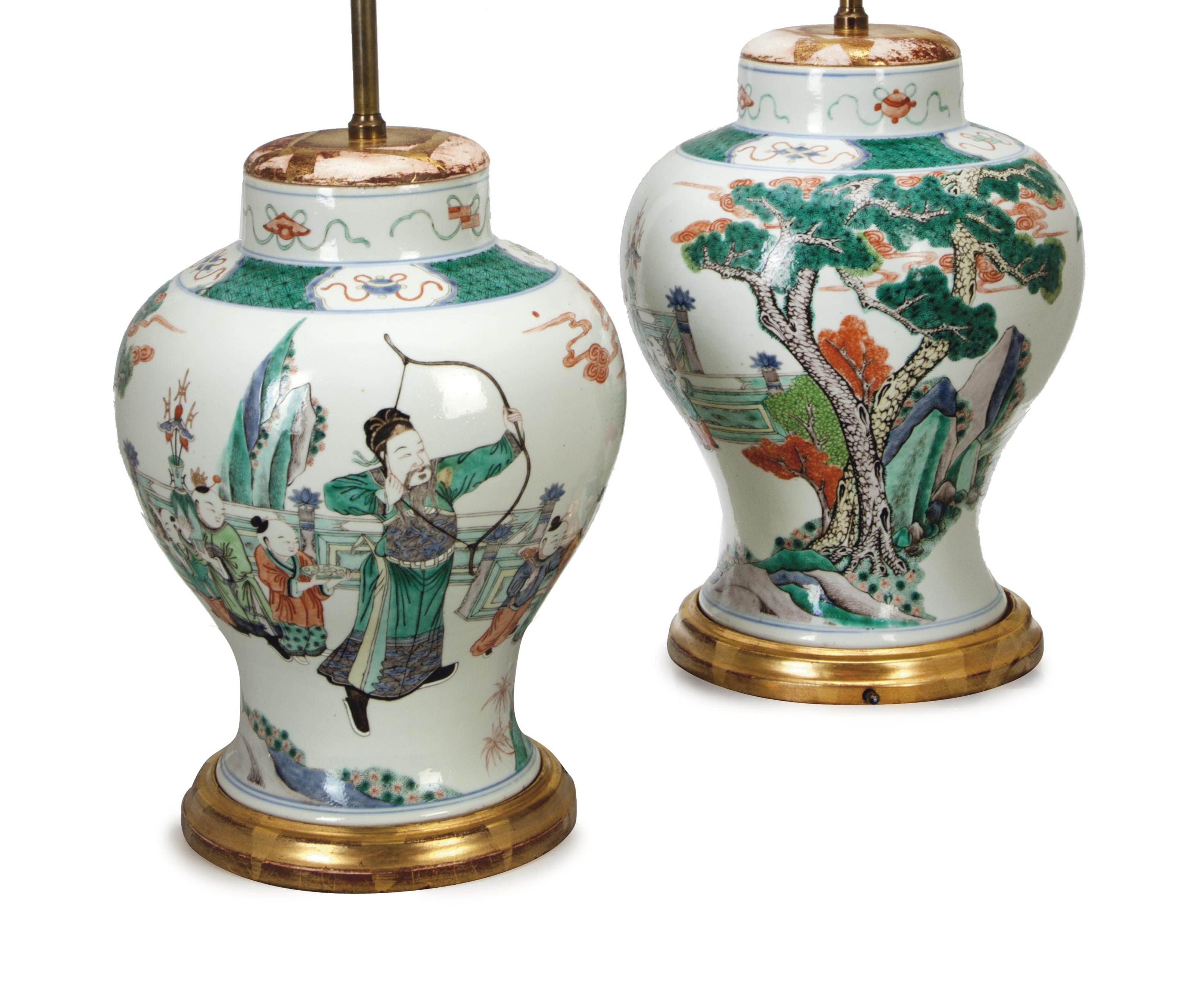 A PAIR OF CHINESE FAMILLE VERTE JARS MOUNTED AS LAMPS,
