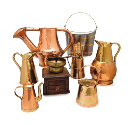 A COLLECTION OF SEVEN COPPER,