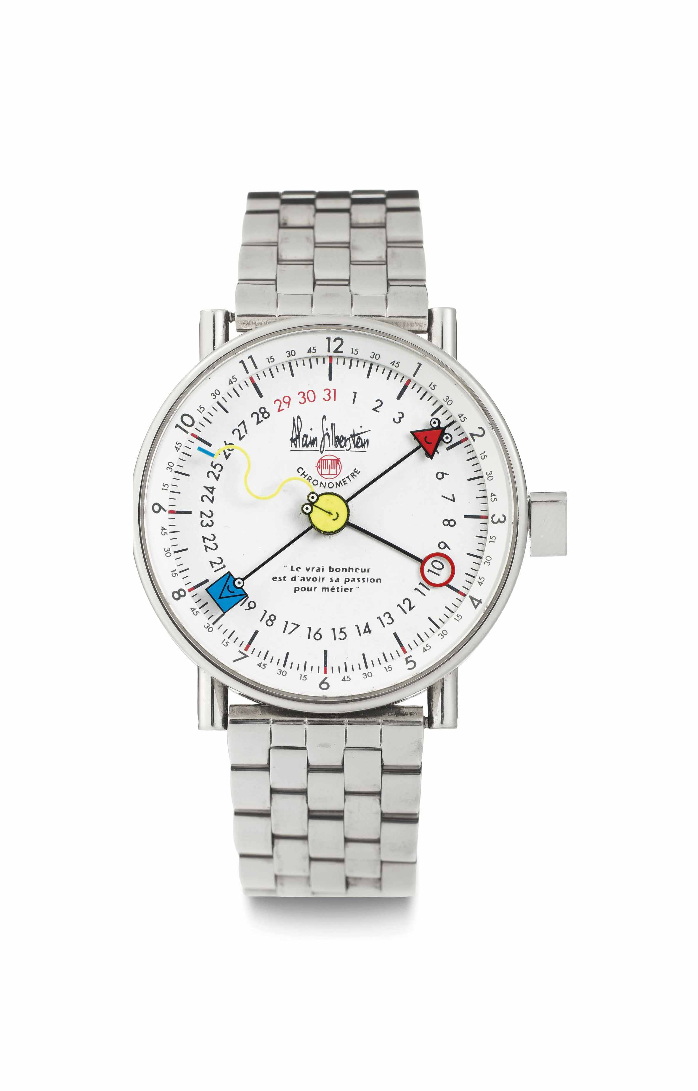 Alain Silberstein. A Limited Edition Stainless Steel Automatic Perpetual Calendar Single Hand Wristwatch with Bracelet