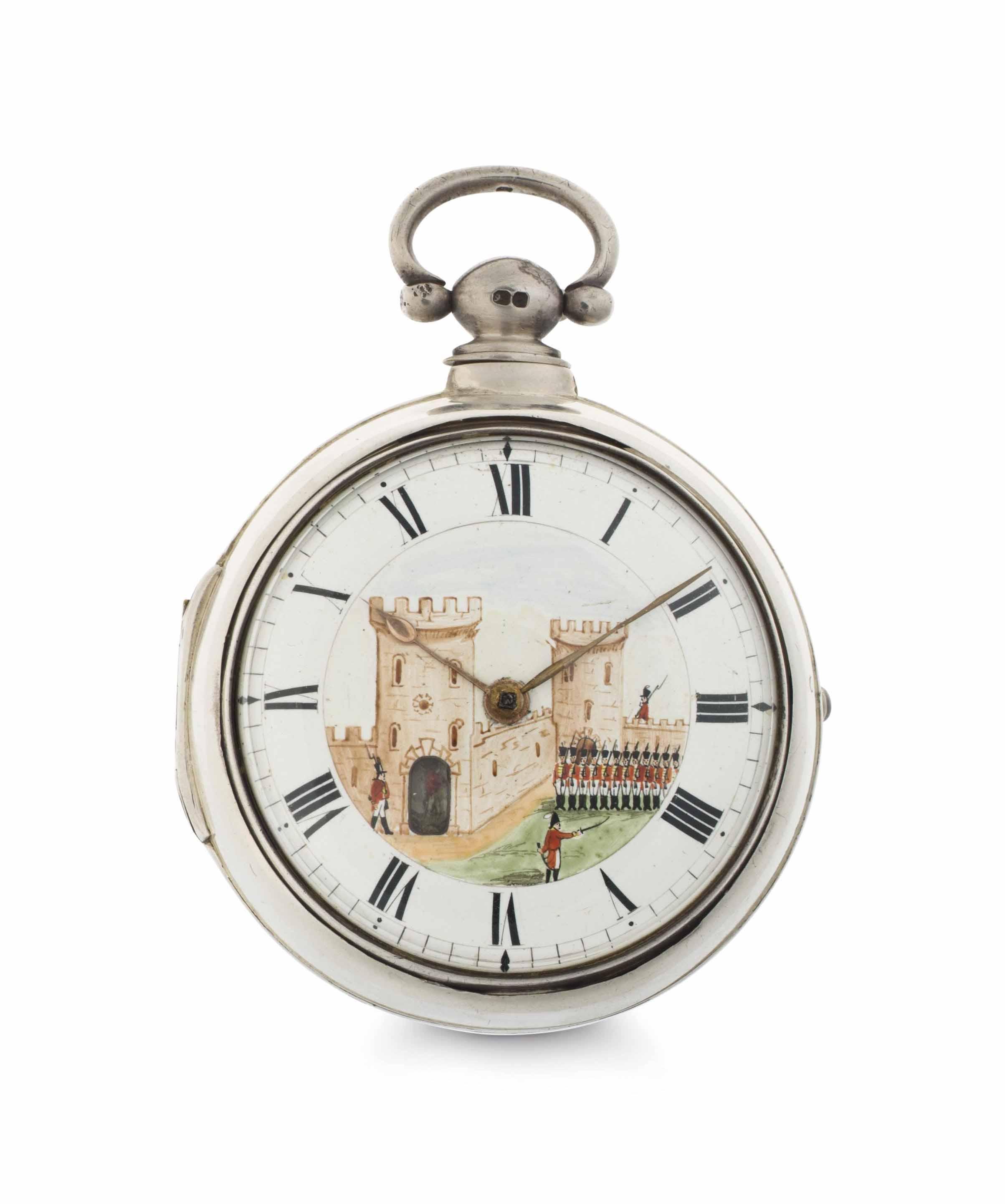 John Burton. A Silver and Enamel Pair Case Keywound Verge Watch with Automaton