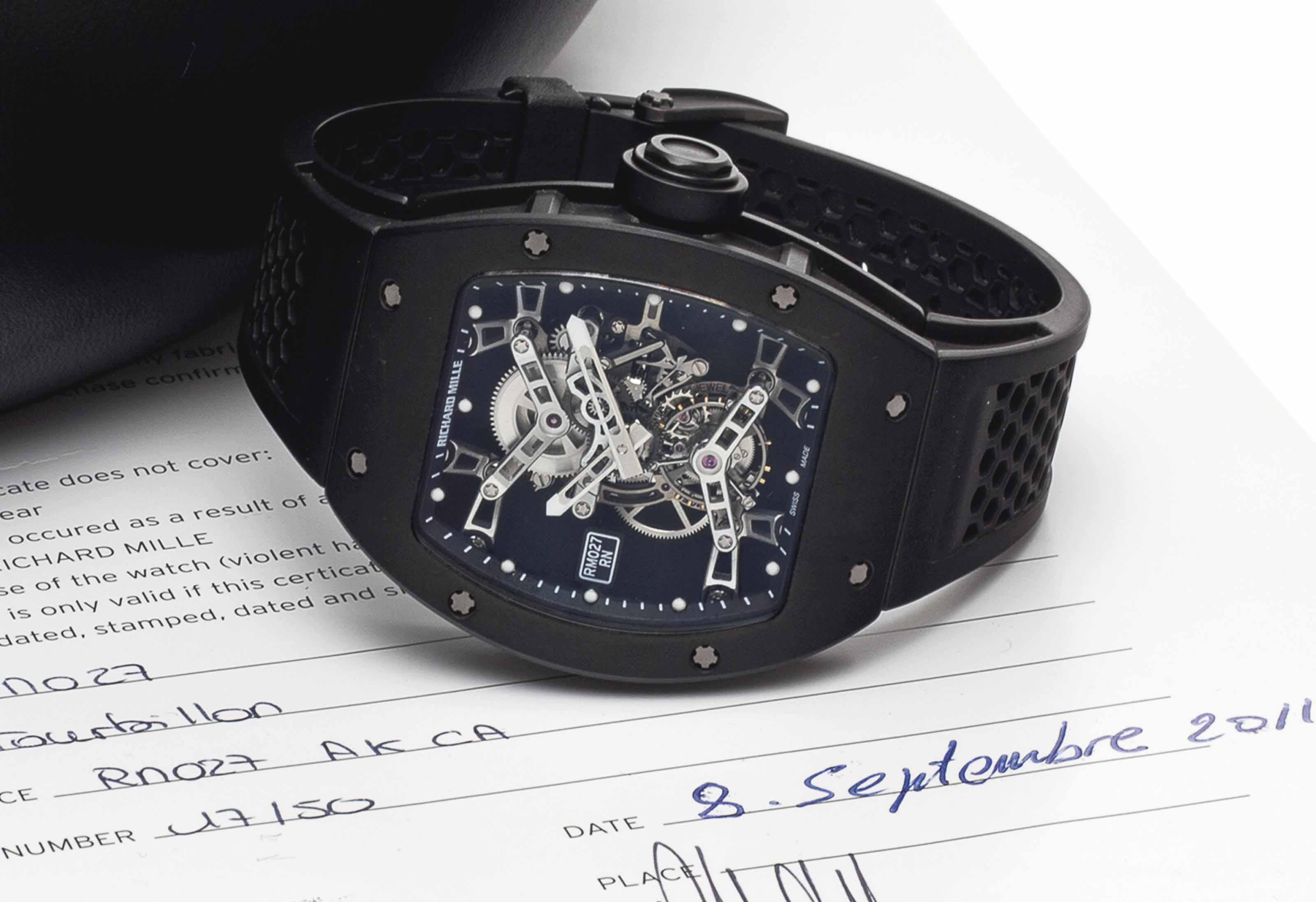 Richard Mille. A Fine and Rare Limited Edition Titanium Skeletonized Wristwatch with Tourbillon