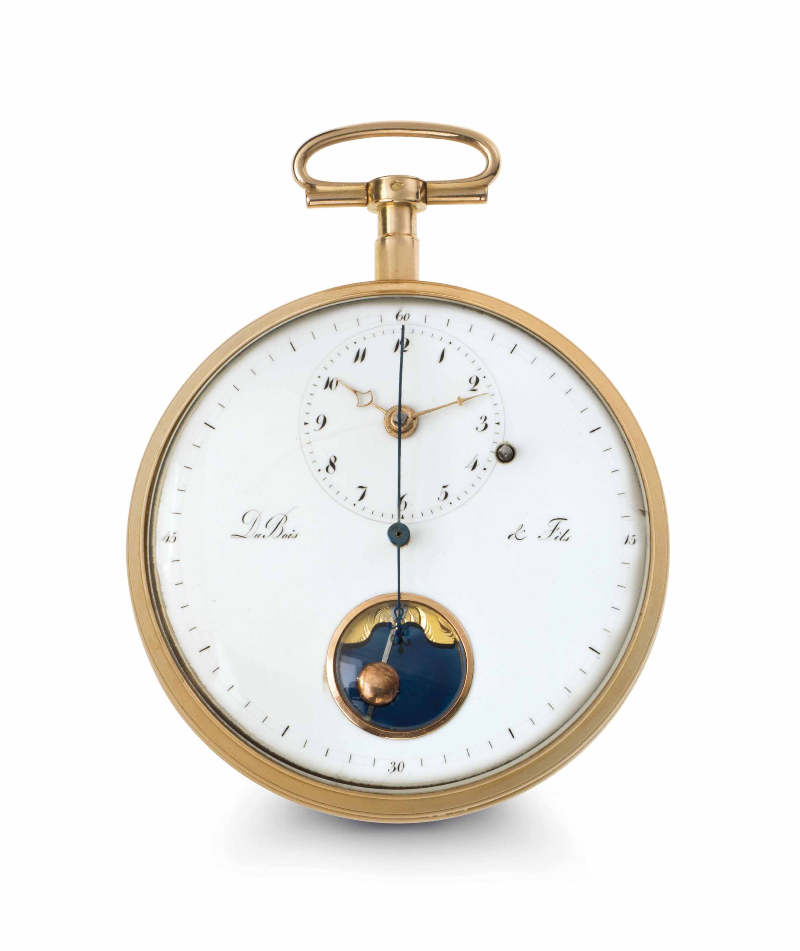 Dubois & Fils. A Fine 18k Gold Openface Pirouette Escapement Keywound Watch with Dead Center Seconds and Mock Pendulum Made for the Chinese Market with Later Case