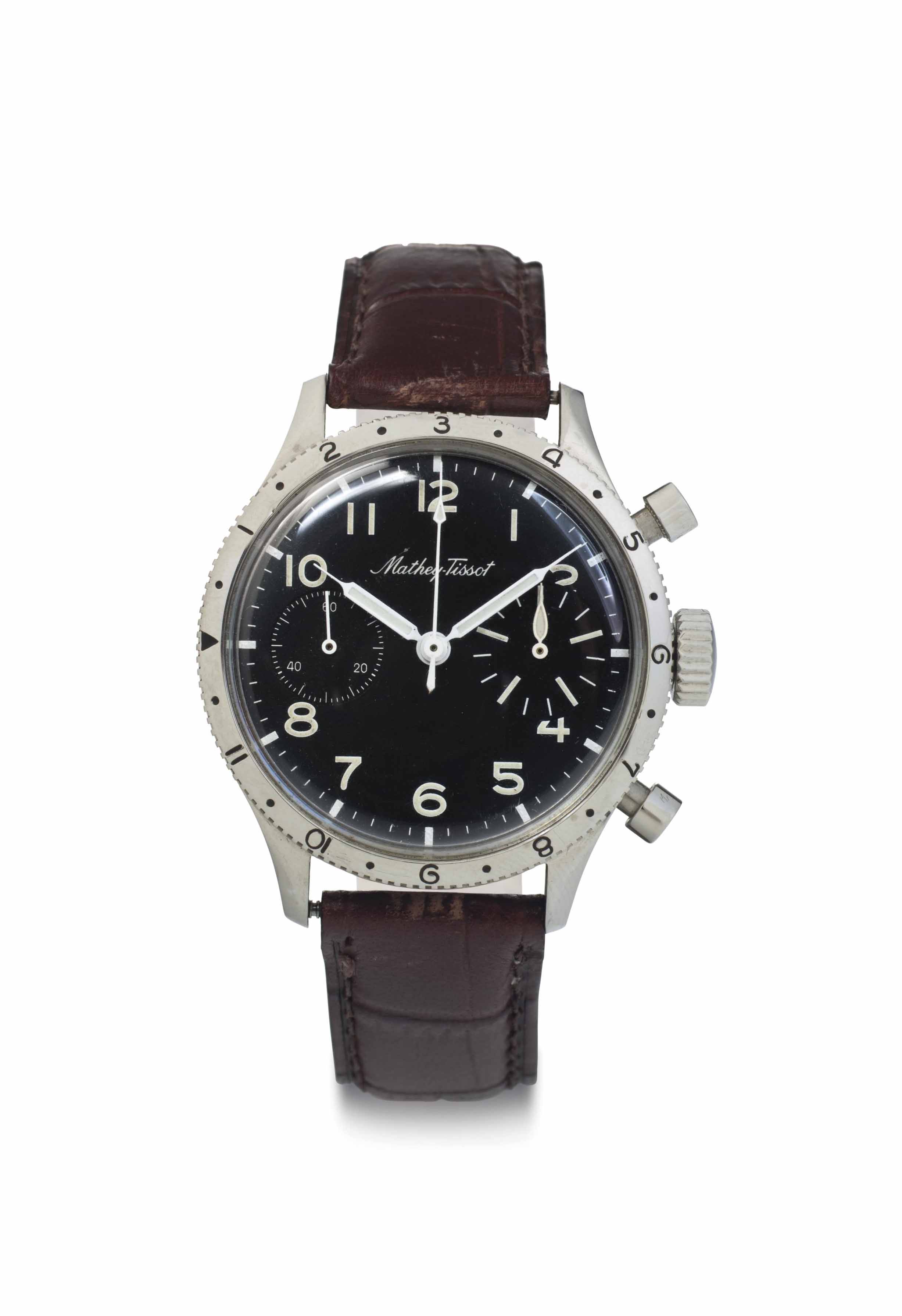 E. Mathey Tissot. A Rare Stainless Steel Flyback Chronograph Wristwatch with Black Dial
