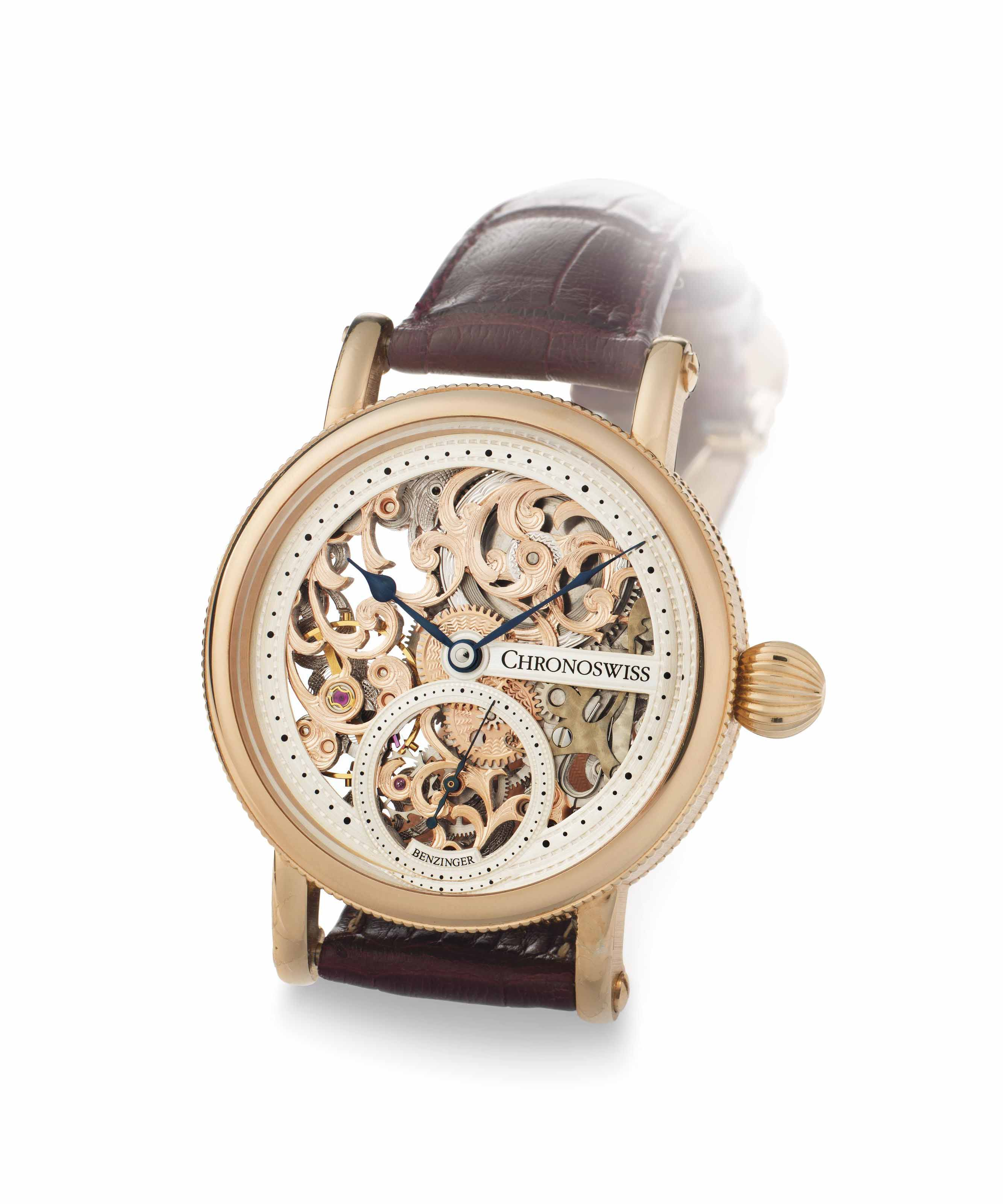 Chronoswiss. A Fine Limited Edition 18k Pink Gold Skeletonized Wristwatch