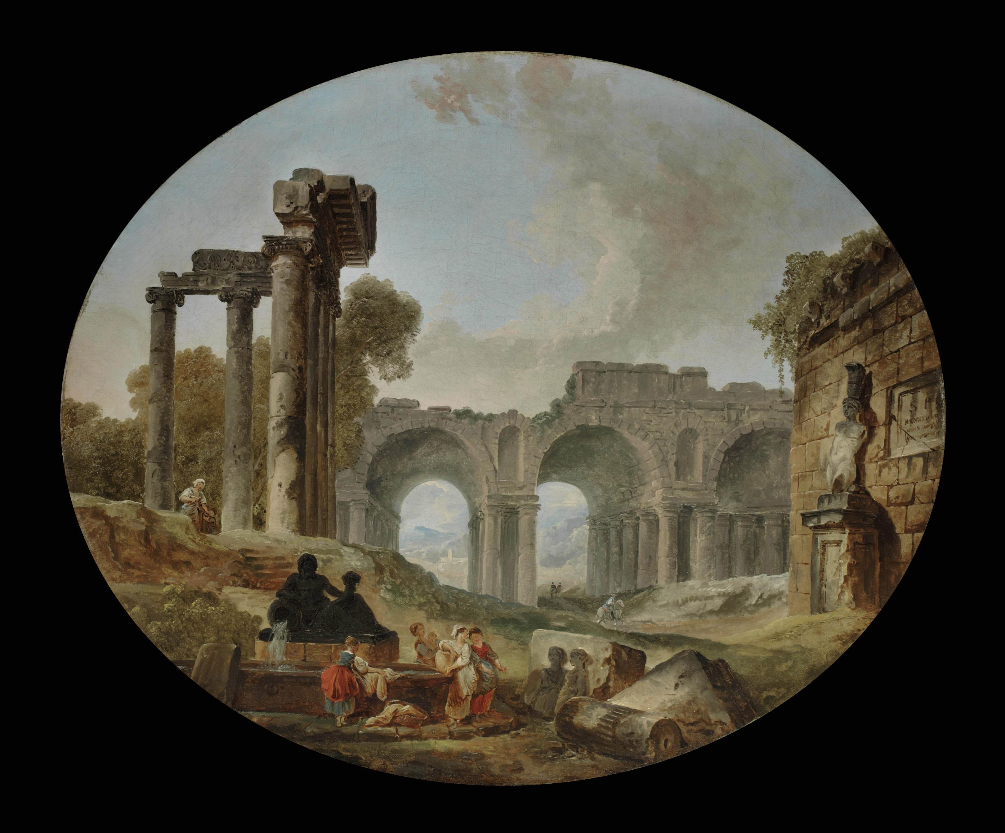 Washerwomen among Roman ruins