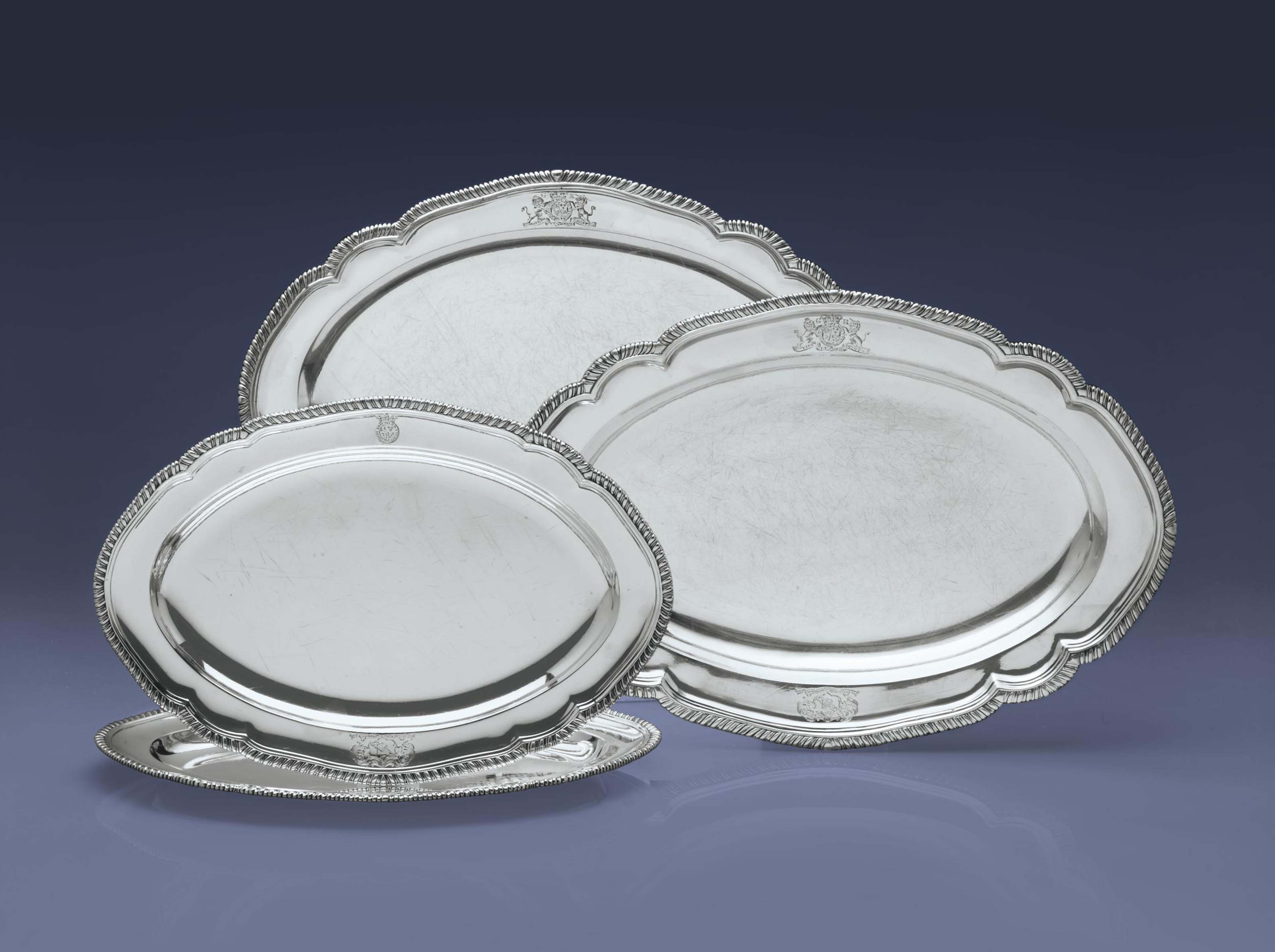 TWO PAIRS OF GEORGE III SILVER MEAT DISHES