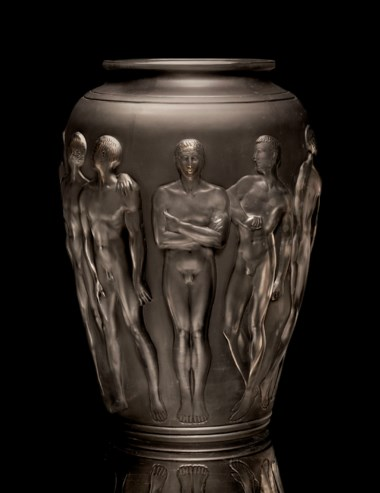 Rene Lalique (1860-1945), A Palestre vase, model introduced 1928 . 15⅞  in (40.1  cm) high. Sold for $362,500 on 12-13 December 2012  at Christie's in New York