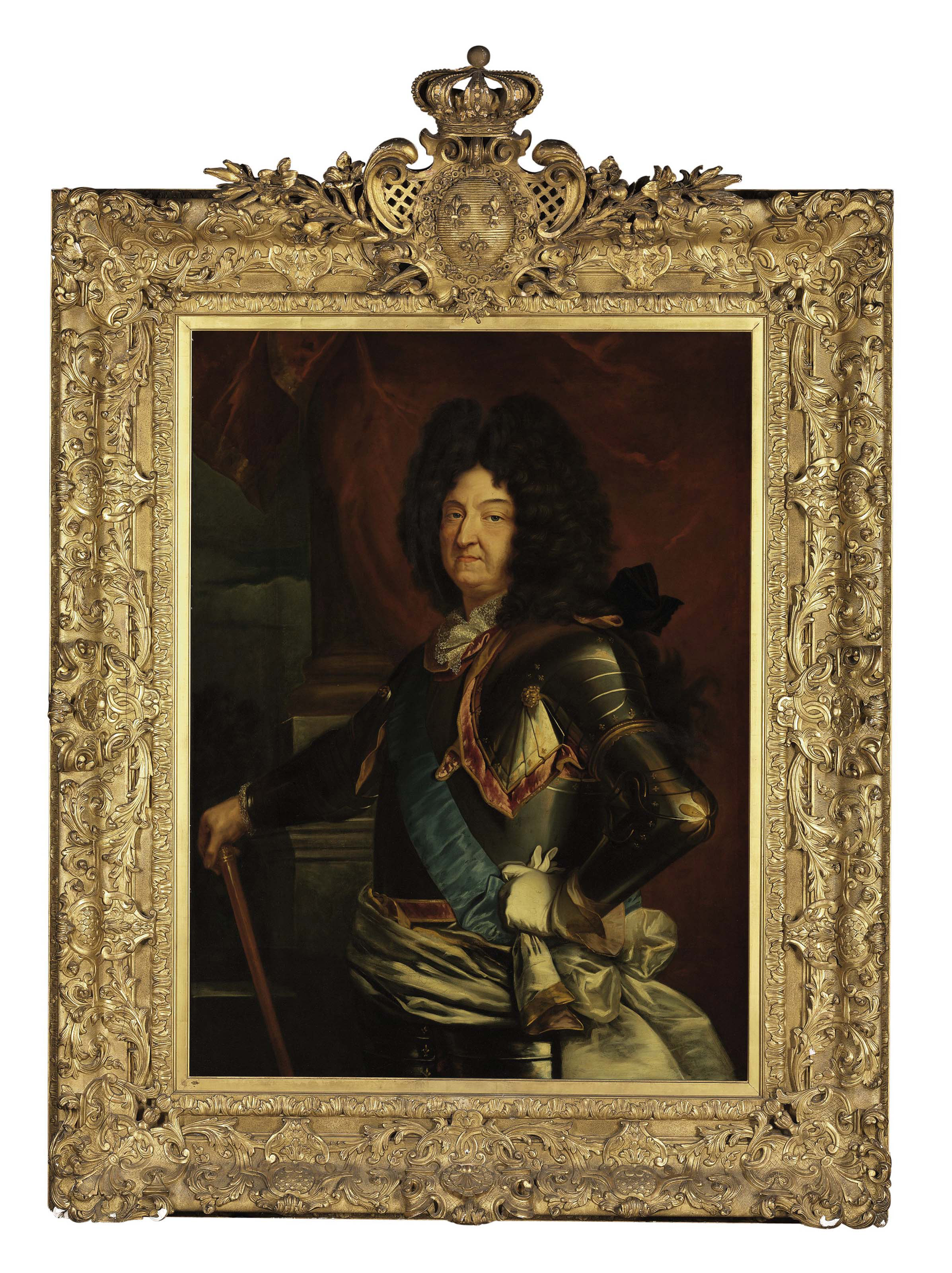 Portrait of Louis XIV, three-quarter-length, in a brown periwig and armor with white sash and blue ribbon of the St. Esprit, holding a baton