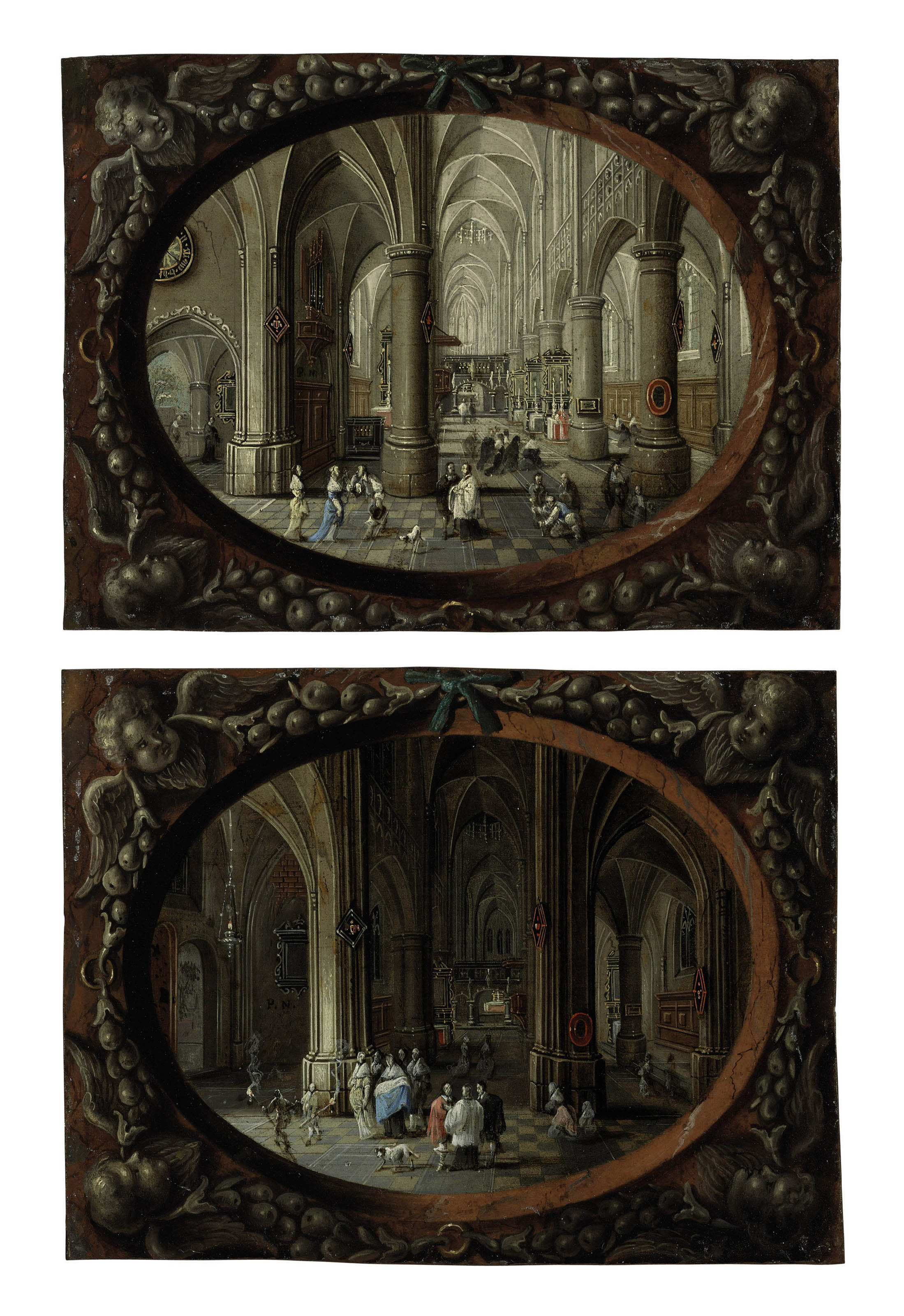 Interior of a Gothic church by day; and Interior of a Gothic church by night