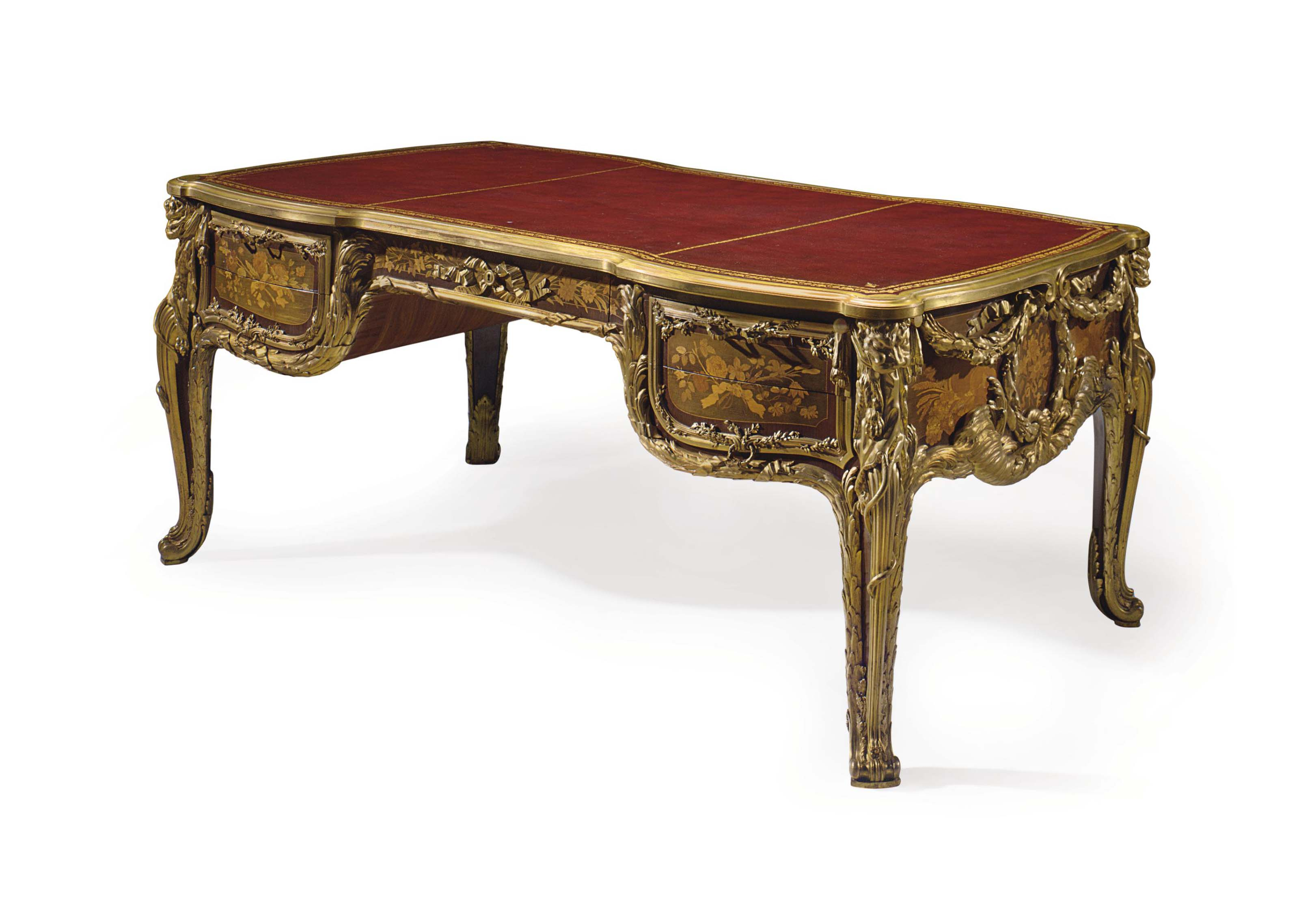 A FINE FRENCH ORMOLU-MOUNTED MAHOGANY, TULIPWOOD, SYCAMORE AND STAINED FRUITWOOD MARQUETRY BUREAU PLAT