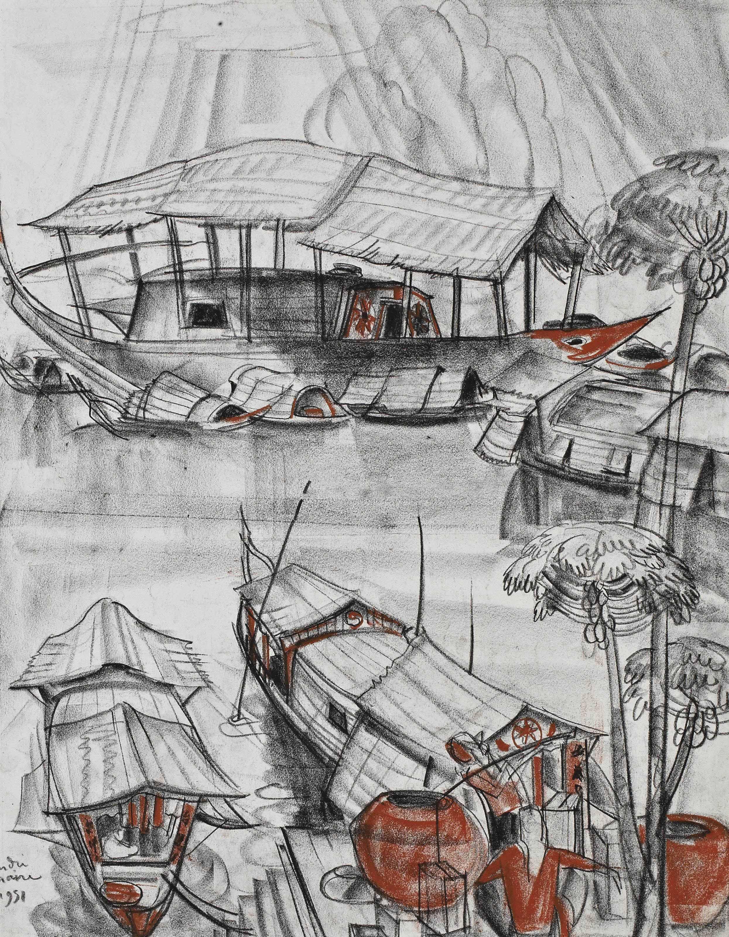Pêcheurs dans les mers d'asie