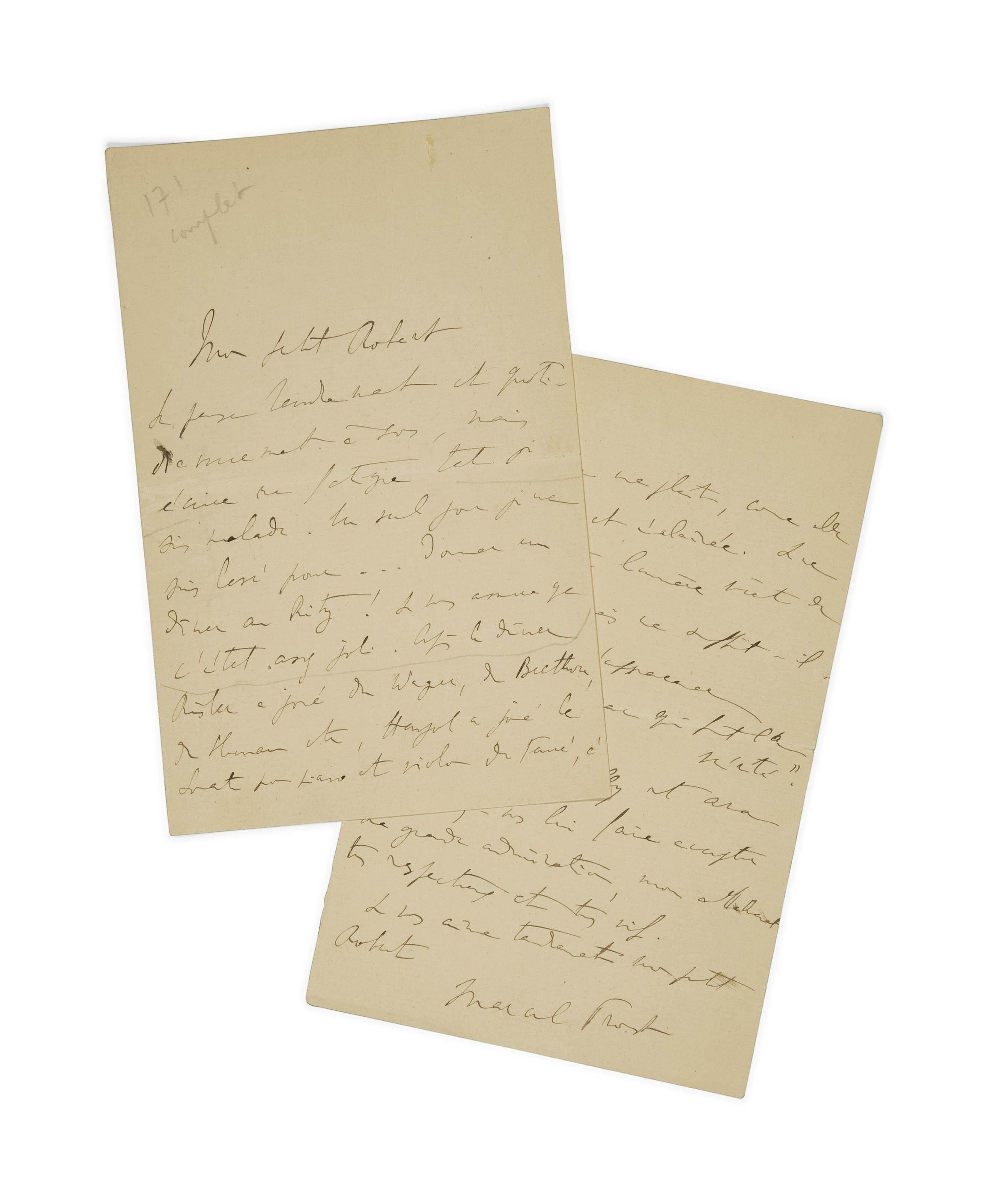 PROUST, Marcel (1871-1922). Lettre autographe à Robert de Billy, 5 pages in-8 (176 x 112 mm), signée, datant du mois de juillet 1907.