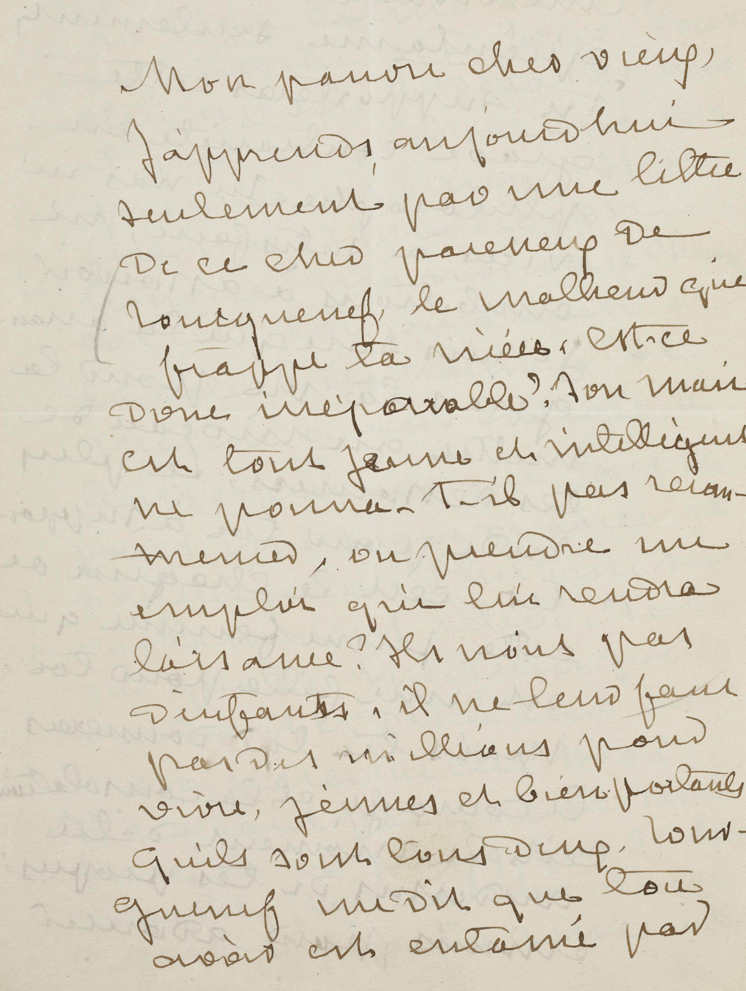 """SAND, George (1804-1876). Lettre autographe, signée """"G. Sand"""", à Gustave Flaubert. Datée et située """"Nohant 15 août [1875]""""."""