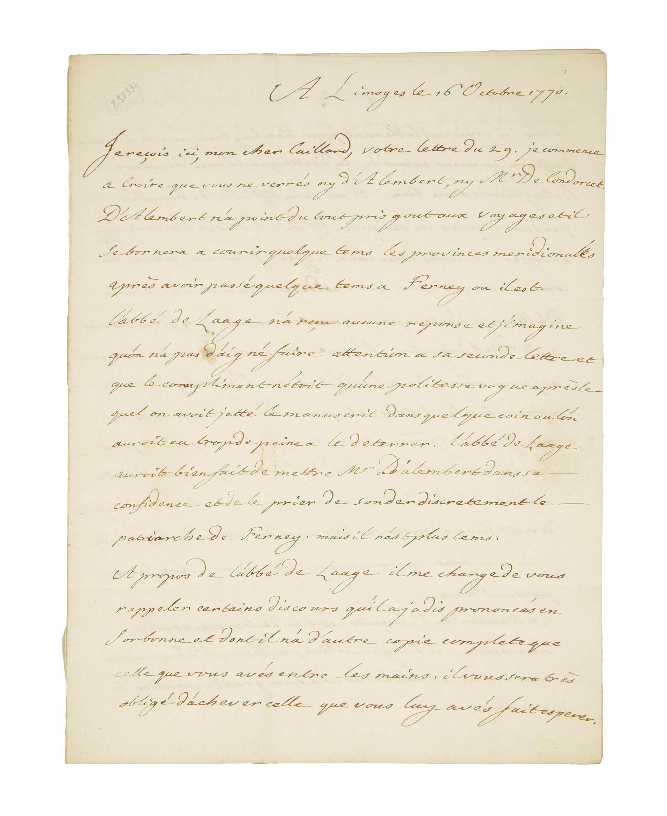 """TURGOT, Anne Robert Jacques (1727-1781). Lettre autographe à monsieur Caillard, """"Secrétaire de Me le Comte de Boisgelin, ministre de France à Parme"""", 2 pages et demie sur un double feuillet in-4 (220 x 166 mm), datée """"Limoges 16 octobre 1770"""". (Traces de pliure, petit trou.)"""