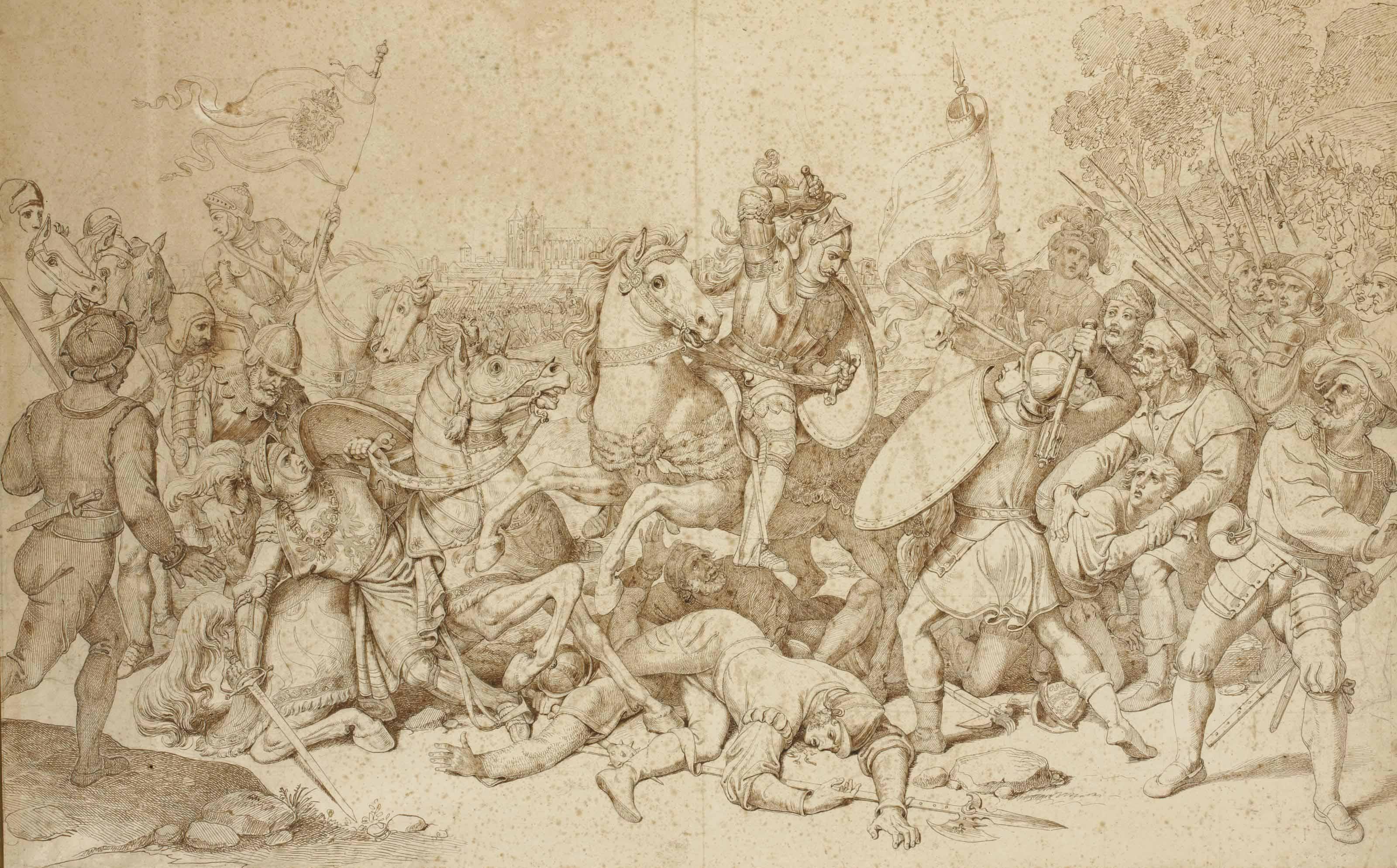 Scène troubadour d'une bataille avec des cavaliers portant les armes des Habsbourg