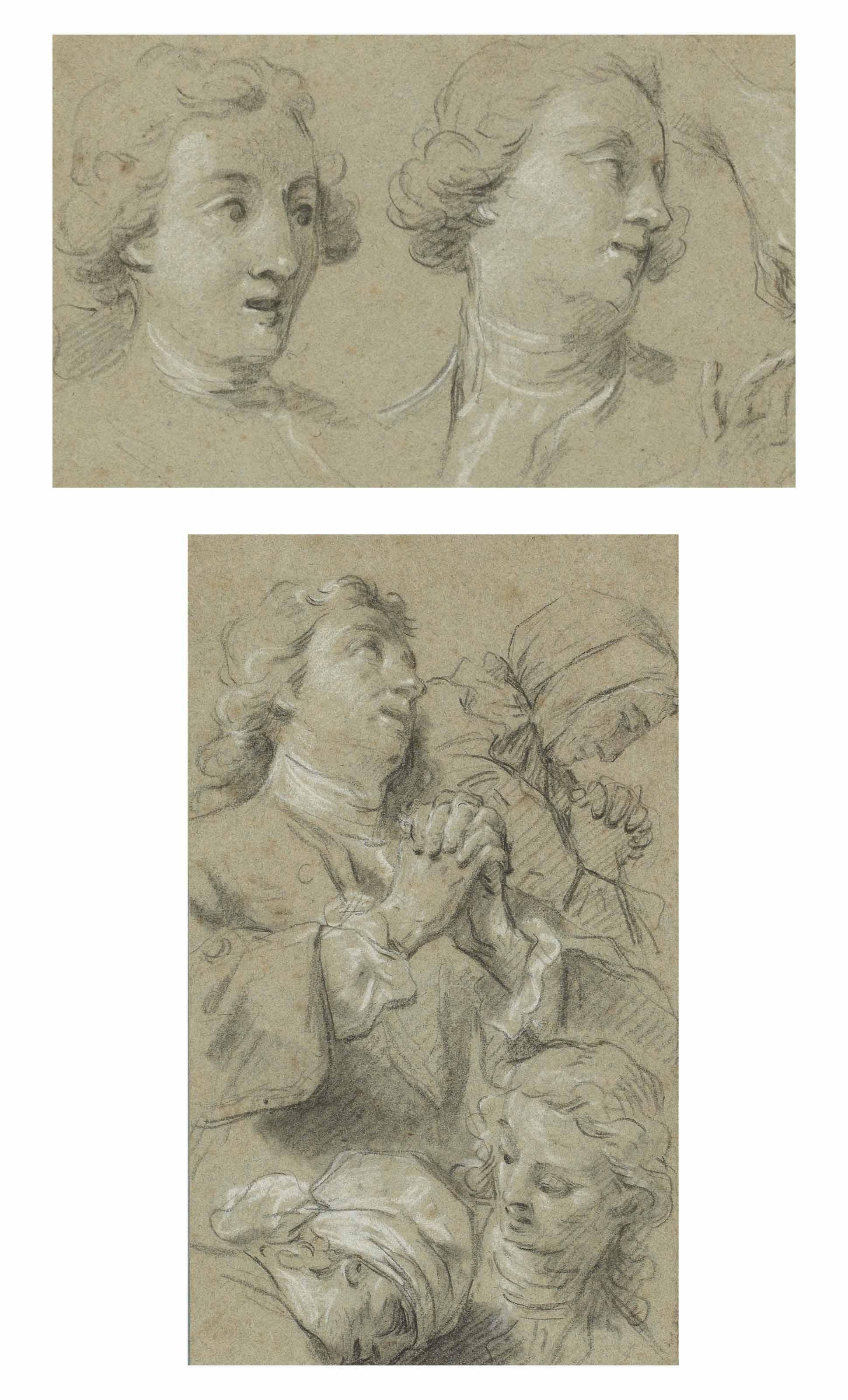 Etude d'hommes et de femmes priant; et Deux têtes d'hommes et études subsidiaires de mains