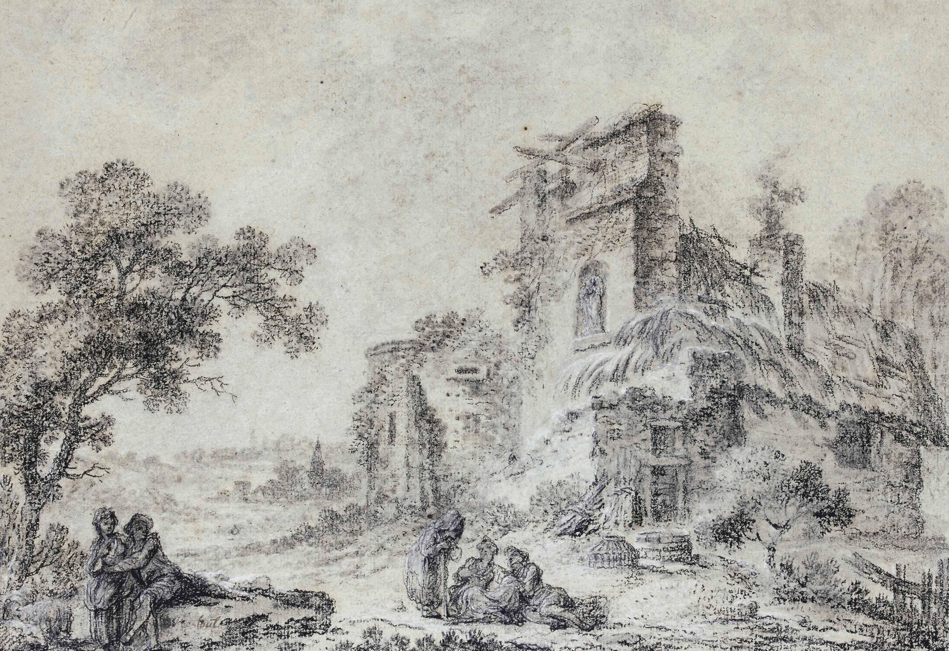 Couple dans un paysage arboré près d'un moulin à eau; et Couple dans un paysage arboré près d'une ruine