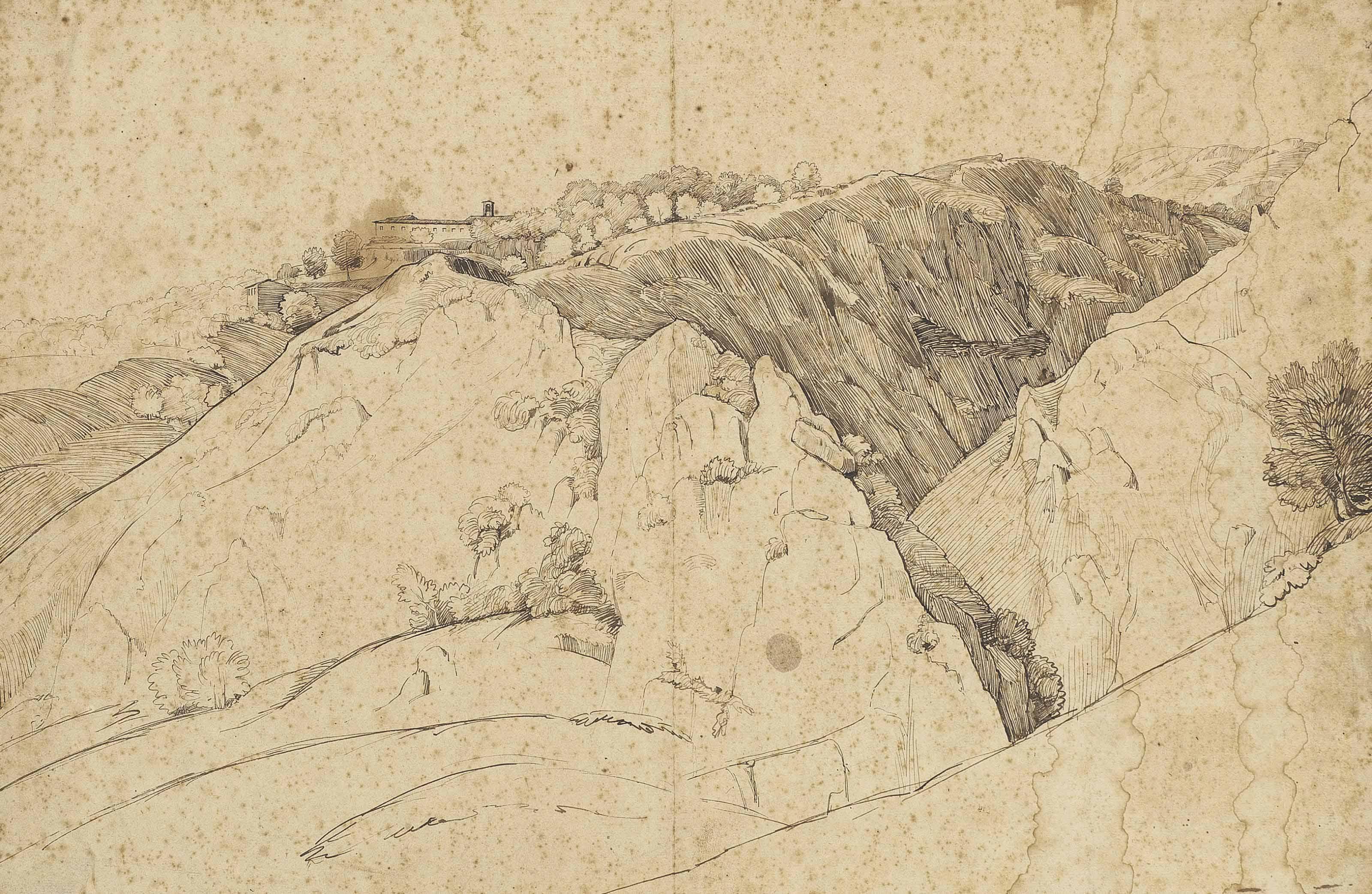 Quatre dessins de paysages, dont Un moulin dans un paysage montagneux