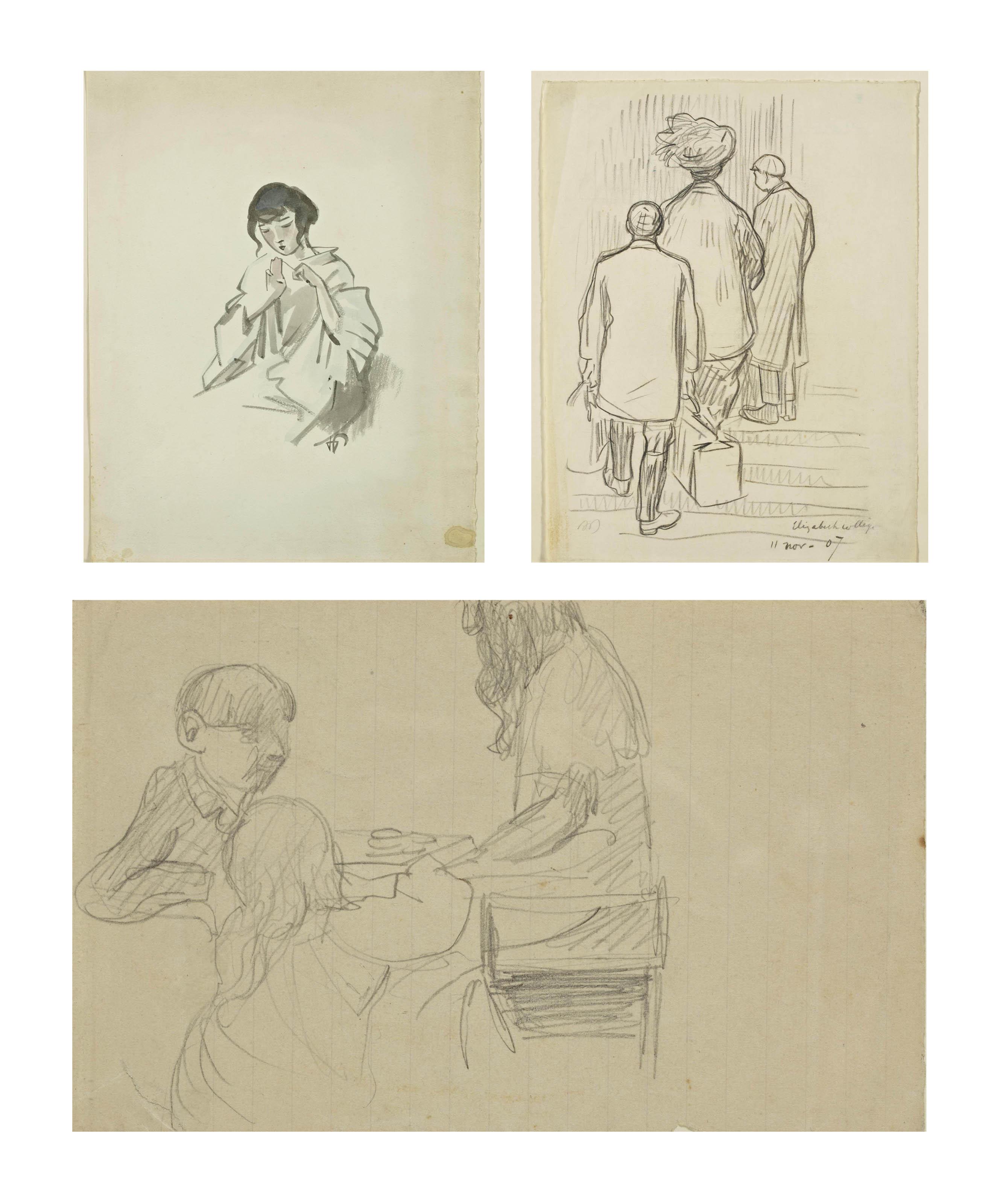 Pauline et son fils Jean et le valet de chambre arrivant à Elisabeth College