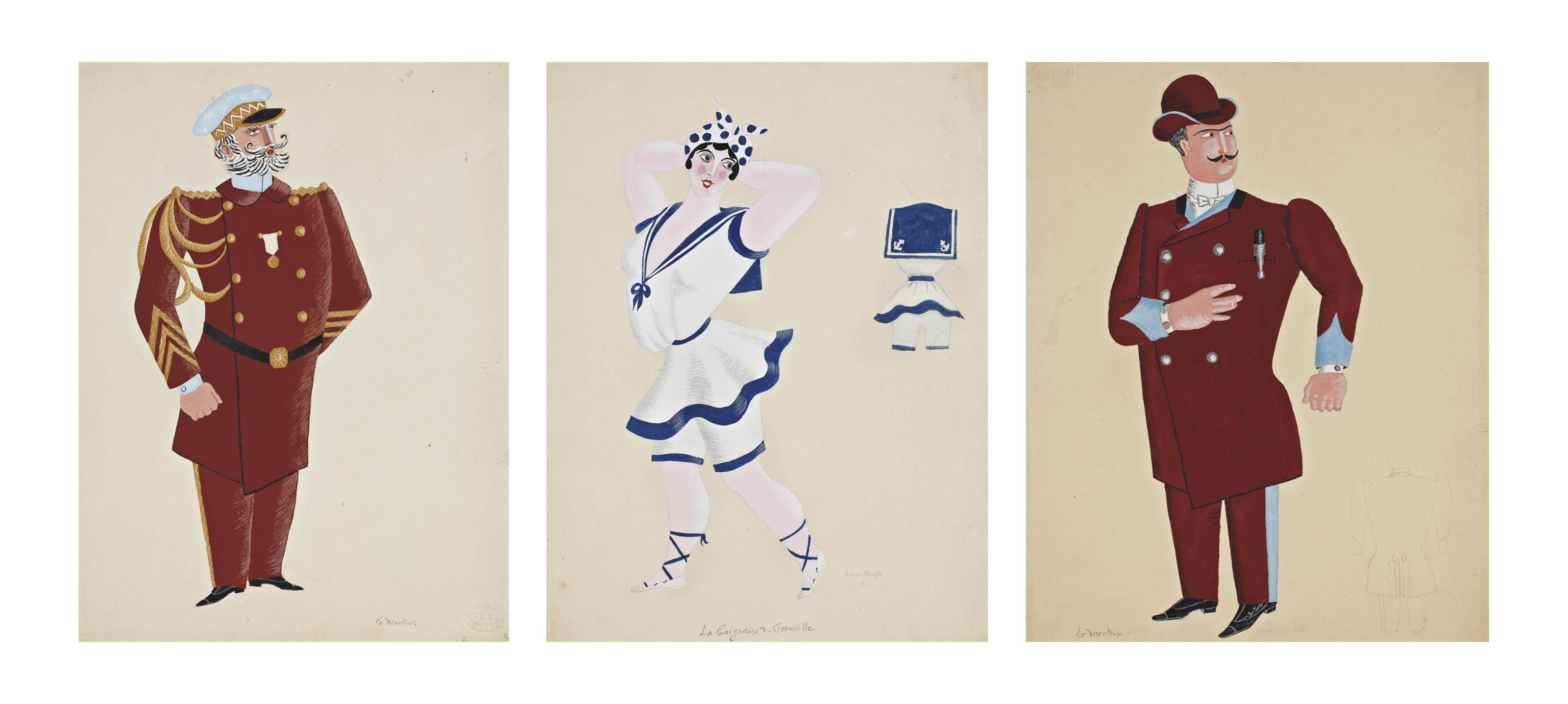 """Trois personnages pour """"les mariés de la Tour Eiffel"""", pie de théâtre de Jean Cocteau"""