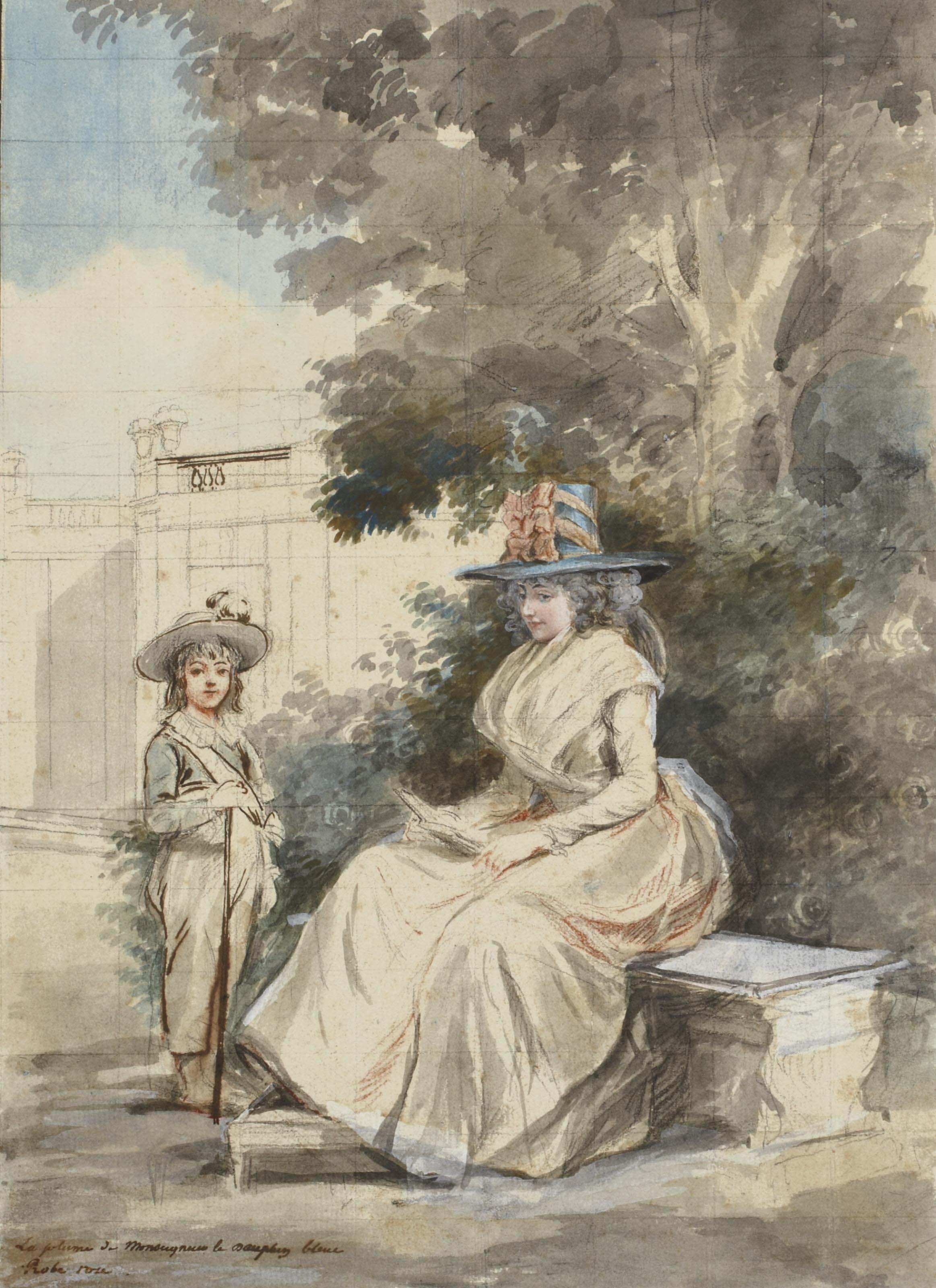 Le dauphin et Madame Elisabeth dans un parc