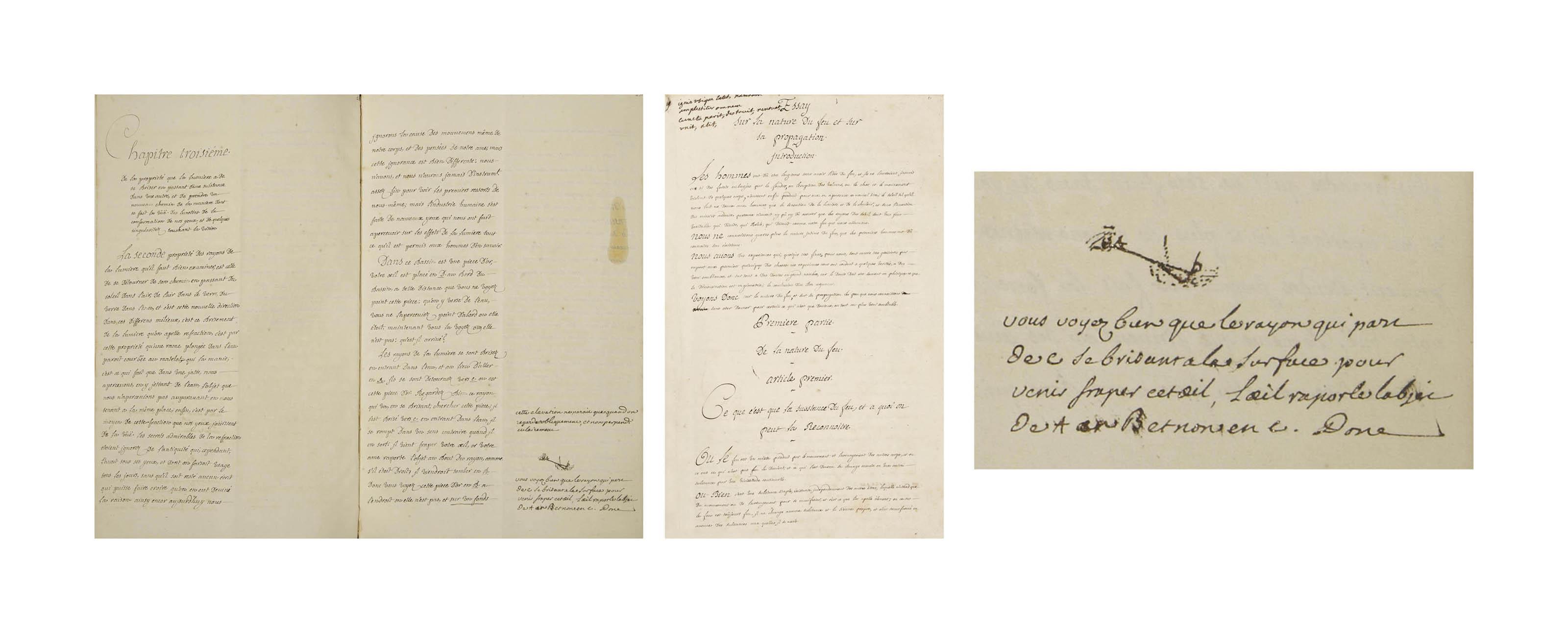 VOLTAIRE. De la nouvelle Philosophie de Newton a madame la marquise du Chastellet. Copie manuscrite avec quelques corrections autographes. [Suivi de:] -- Essay sur la nature du feu et sur sa propagation. Copie manuscrite d'une main différente comportant un ajout autographe d'Émilie du Châtelet. Vers 1737-1738.