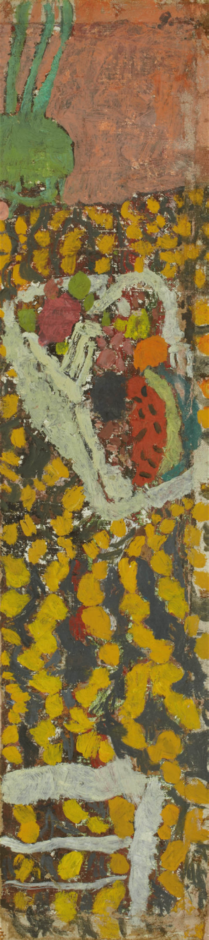Corbeille de fruits et tapisserie