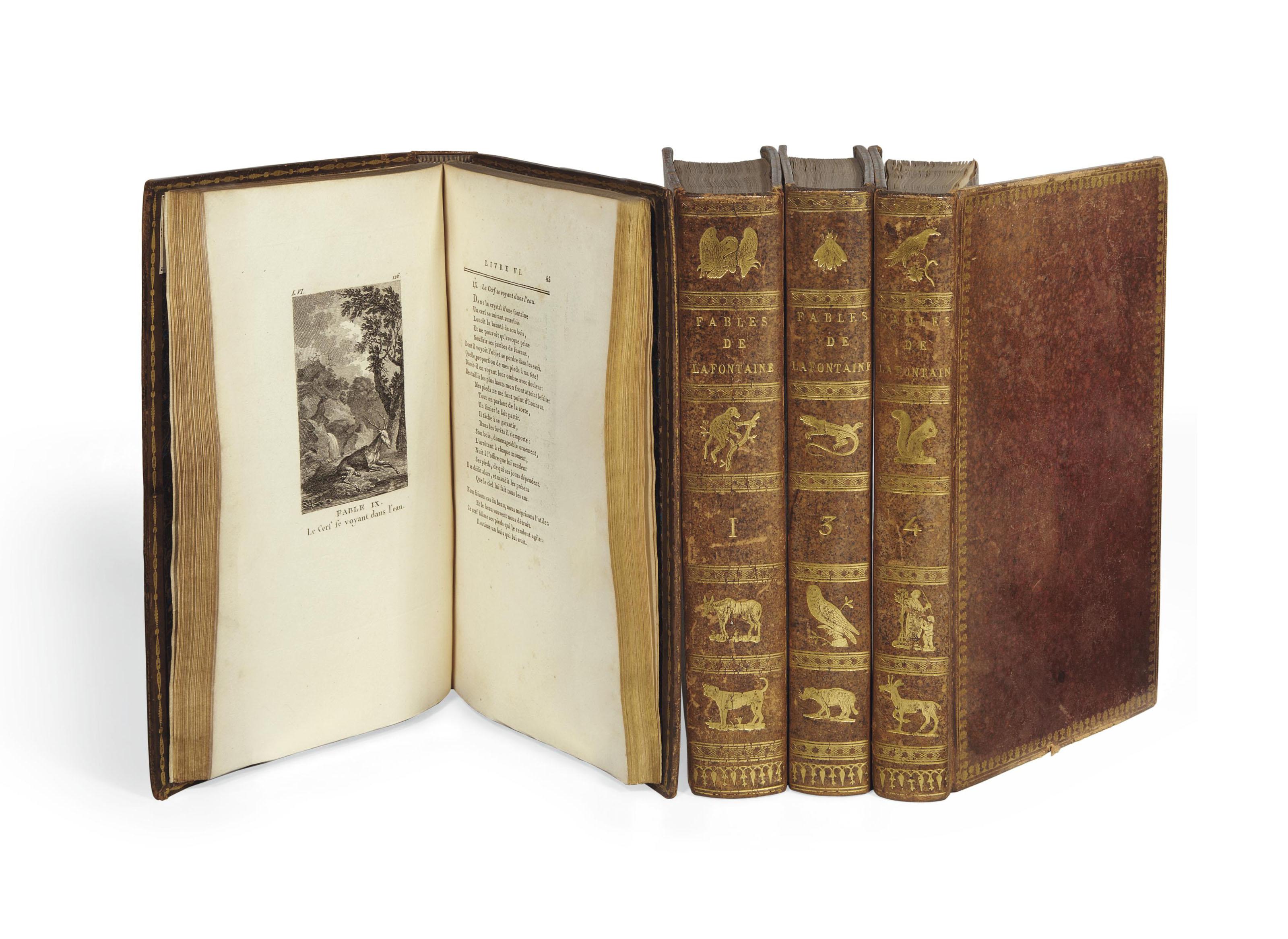 LA FONTAINE, Jean (1621-1695). Fables de La Fontaine avec figures gravées par MM.  Simon et Coiny. Paris: Bossange, Masson et Besson, An IV.