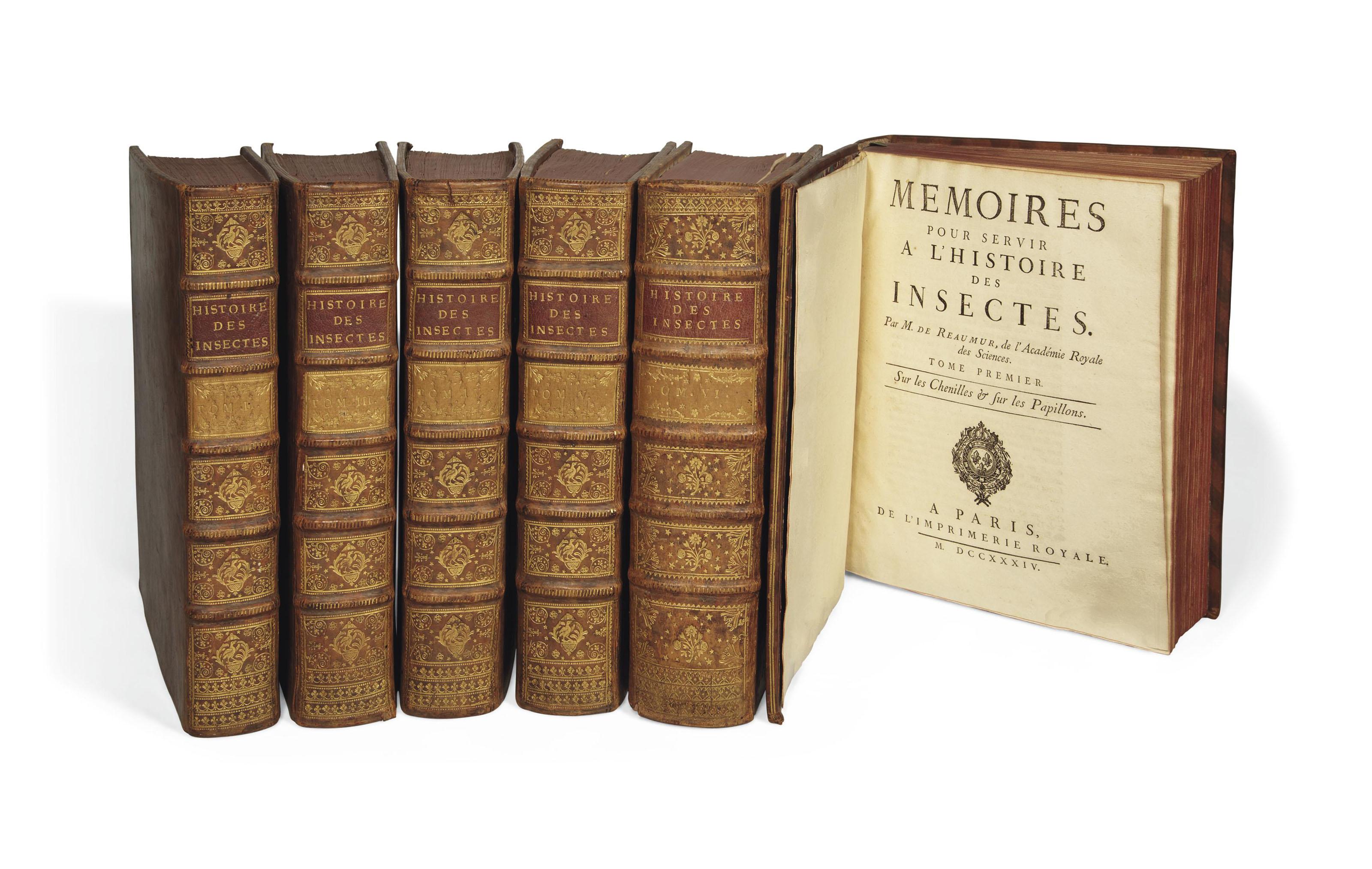 RÉAUMUR, René Antoine Ferchault de (1683-1757). Mémoires pour servir à l'histoire des insectes. Paris: imprimerie royale, 1734-1742.