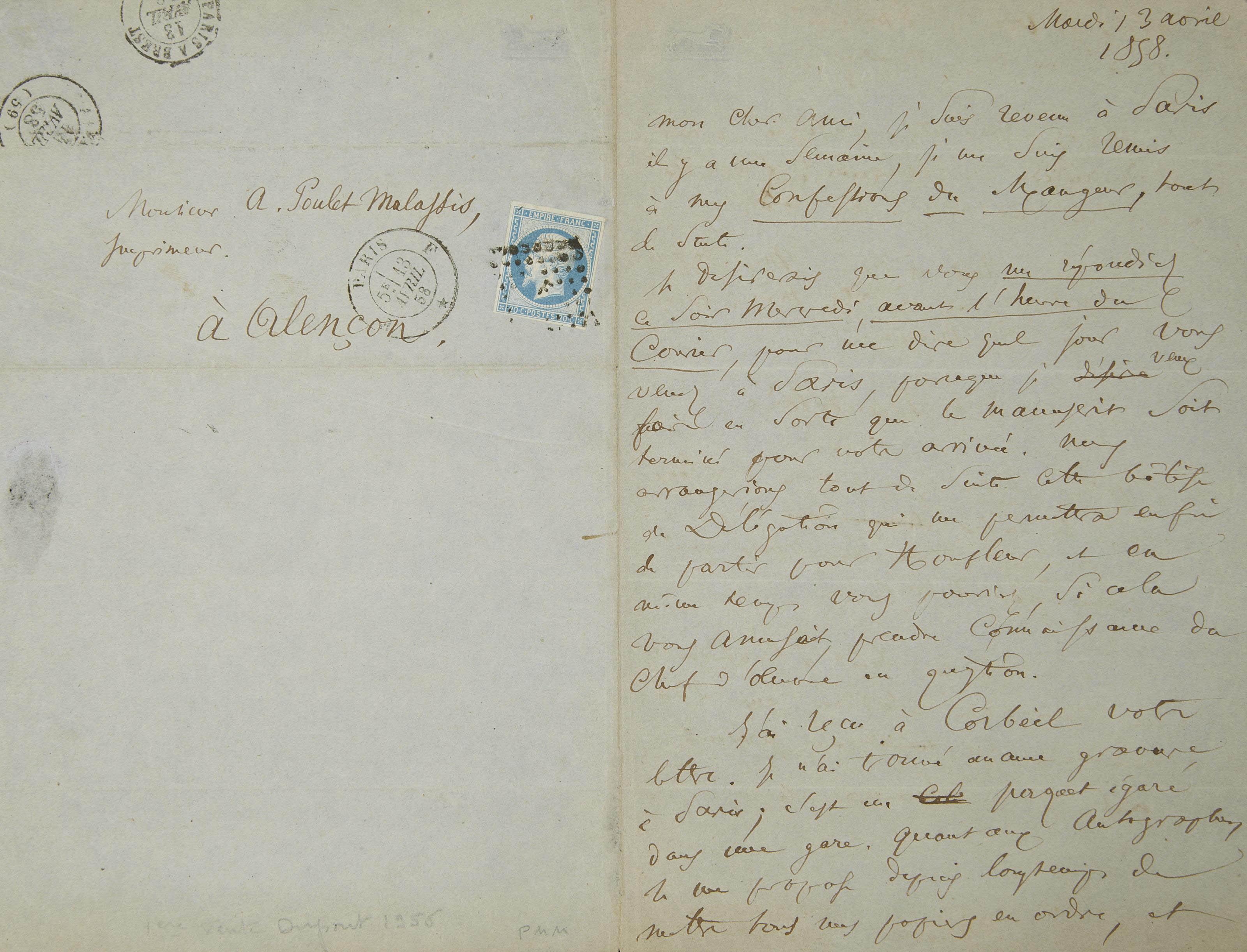 BAUDELAIRE, Charles. Lettre autographe signée à Auguste Poulet-Malassis, 2 pages in-8 sur une feuille pliée (198 x 130 mm), datée mardi 13 avril 1858, avec le timbre-poste. (Traces de pliures.)
