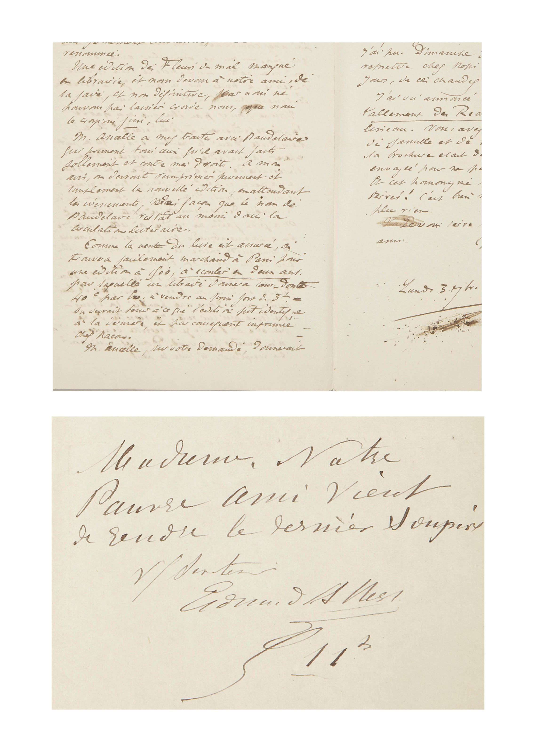 [BAUDELAIRE] -- Très importante réunion de 85 lettres autographes rédigées entre 1866 en 1870 relatant la maladie, la mort et les publications des oeuvres de Baudelaire. L'ensemble contient les lettres suivantes: 34 de Mme Aupick (dont 12 à Félicité Baudelaire, 11 à Banville, 8 à Asselineau, et une à Poulet-Malassis, Nadar et un personnage non identifié); 33 lettres de Poulet-Malassis à Asselineau; 15 d'Asselineau (dont 13 à Poulet-Malassis et 2 à Philarète Chasles); une lettre de Manet à Asselineau; une lettre de Banville à Asselineau; et une de Charles Neyt à Poulet-Malassis. Provenance: Pierre Leroy (vente à Paris le 27 juin 2007, lot 35).