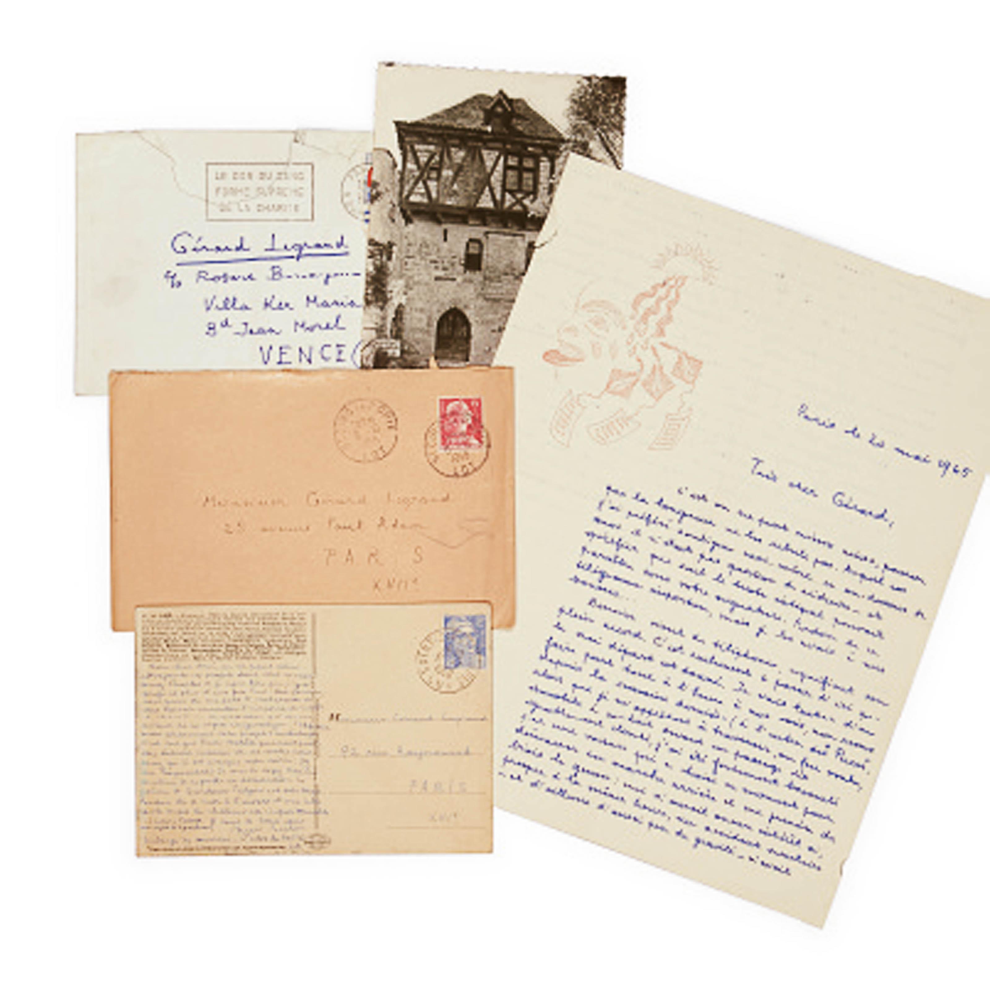 BRETON, André (1896-1966). 2 cartes postales et une lettre autographes adressées à Gérard Legrand entre 31 juillet 1950 et 20 mai 1965, avec deux enveloppes conservées.
