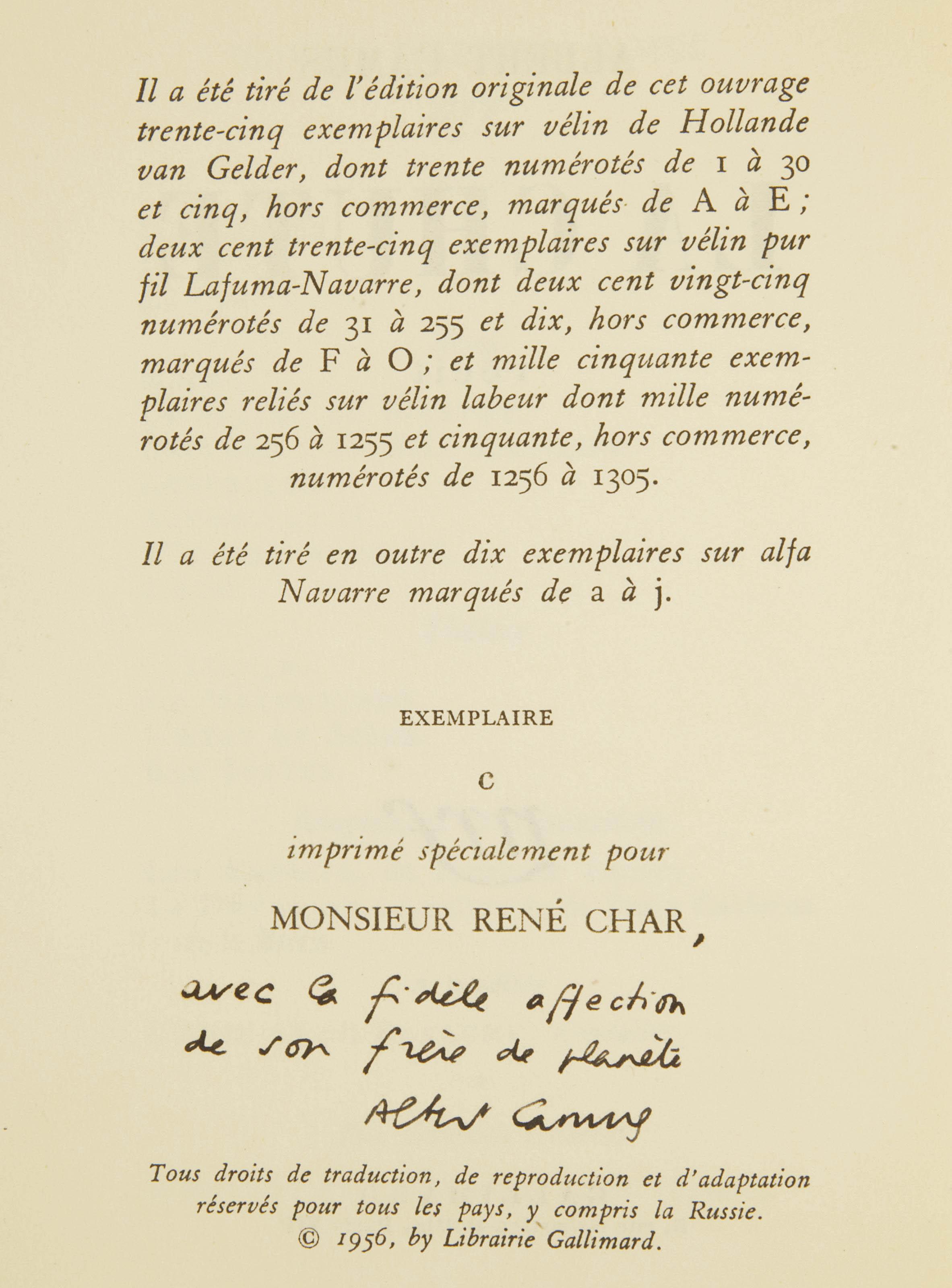 CAMUS, Albert (1913-1960). La Chute. Récit. Paris: NRF, 1956.
