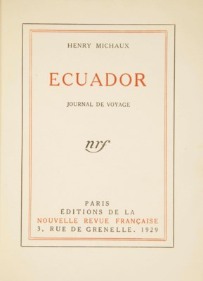 michaux henri 1899 1984 ecuador journal de voyage. Black Bedroom Furniture Sets. Home Design Ideas
